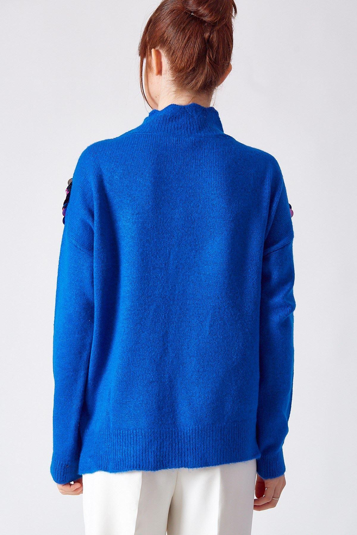 Payet Detaylı Kazak Saks Mavisi