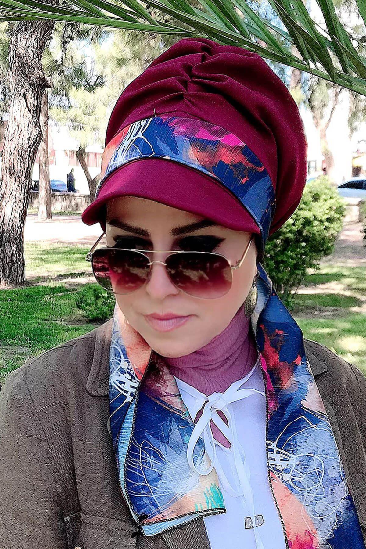 Lacivert Desenli Bordo Fularlı Şapka