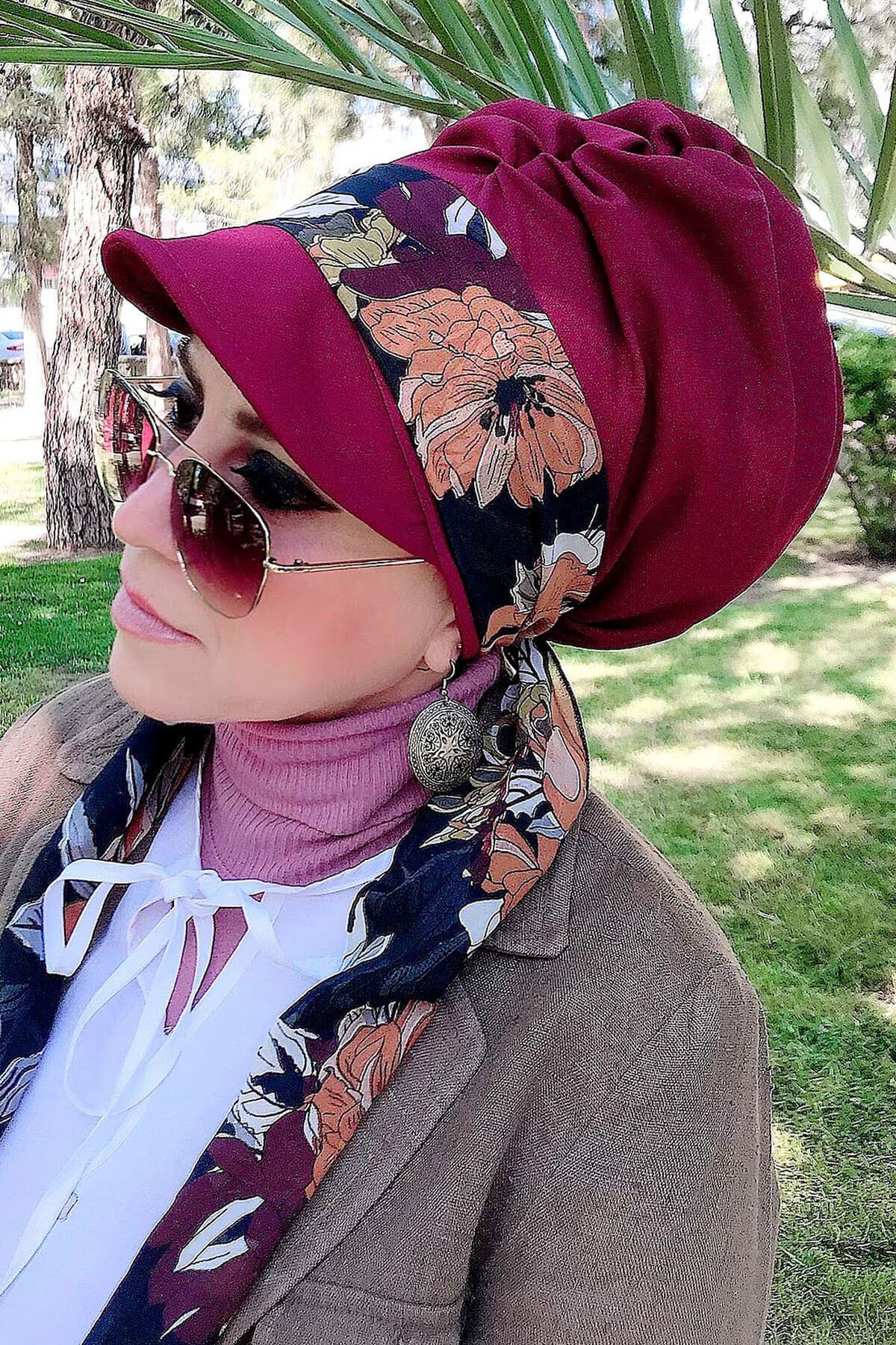 Turuncu Çiçek Desenli Bordo Fularlı Şapka