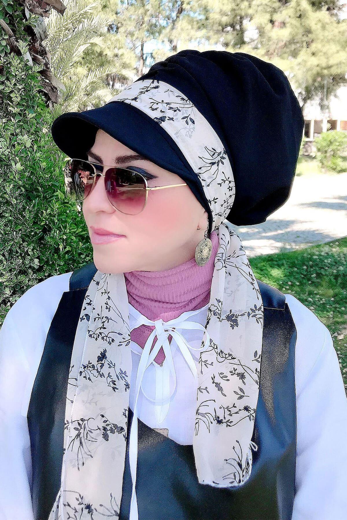 Beyaz Yaprak Desenli Siyah Fularlı Şapka