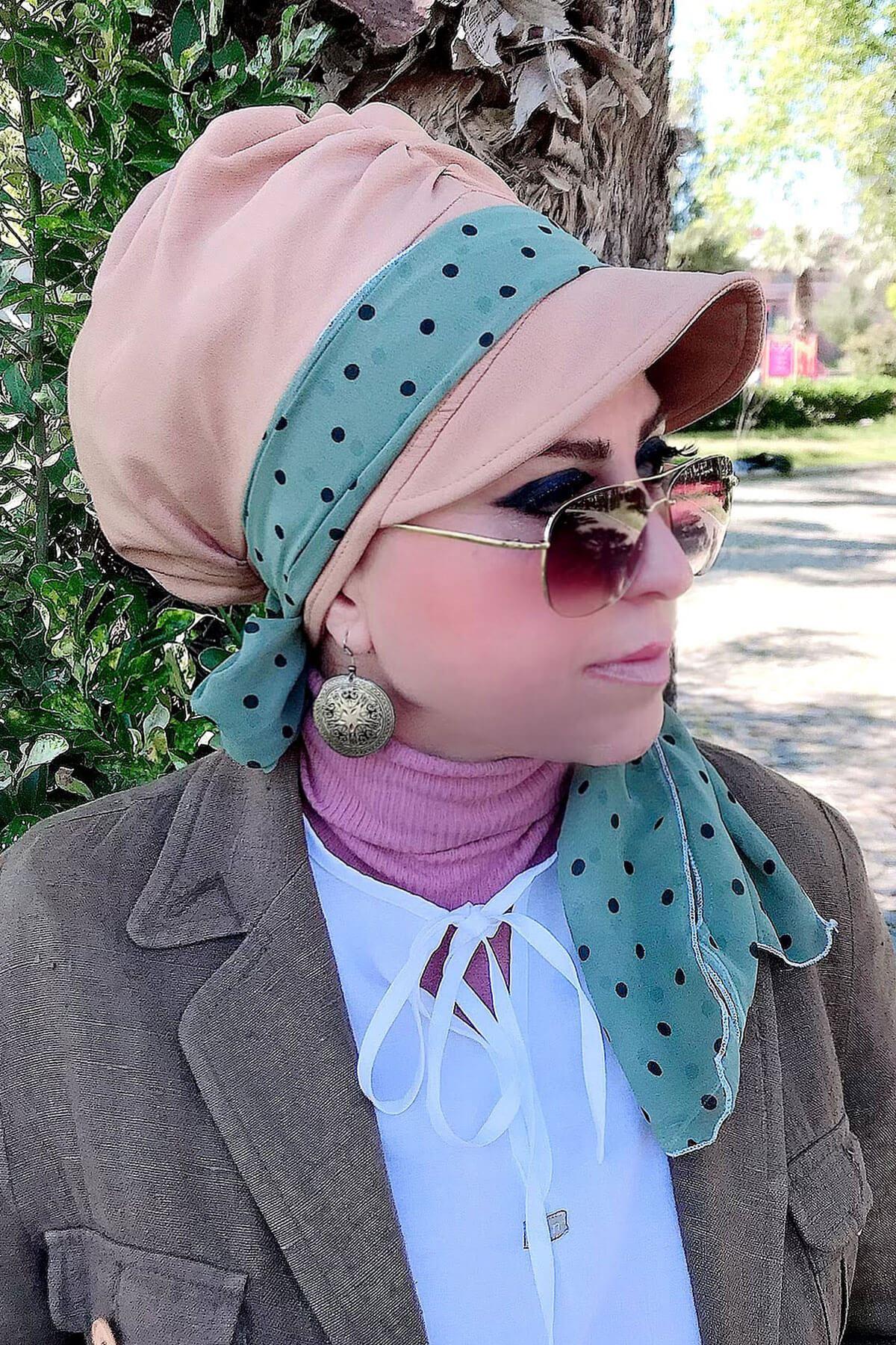 Su Yeşili Puantiyeli Vizon Fularlı Şapka