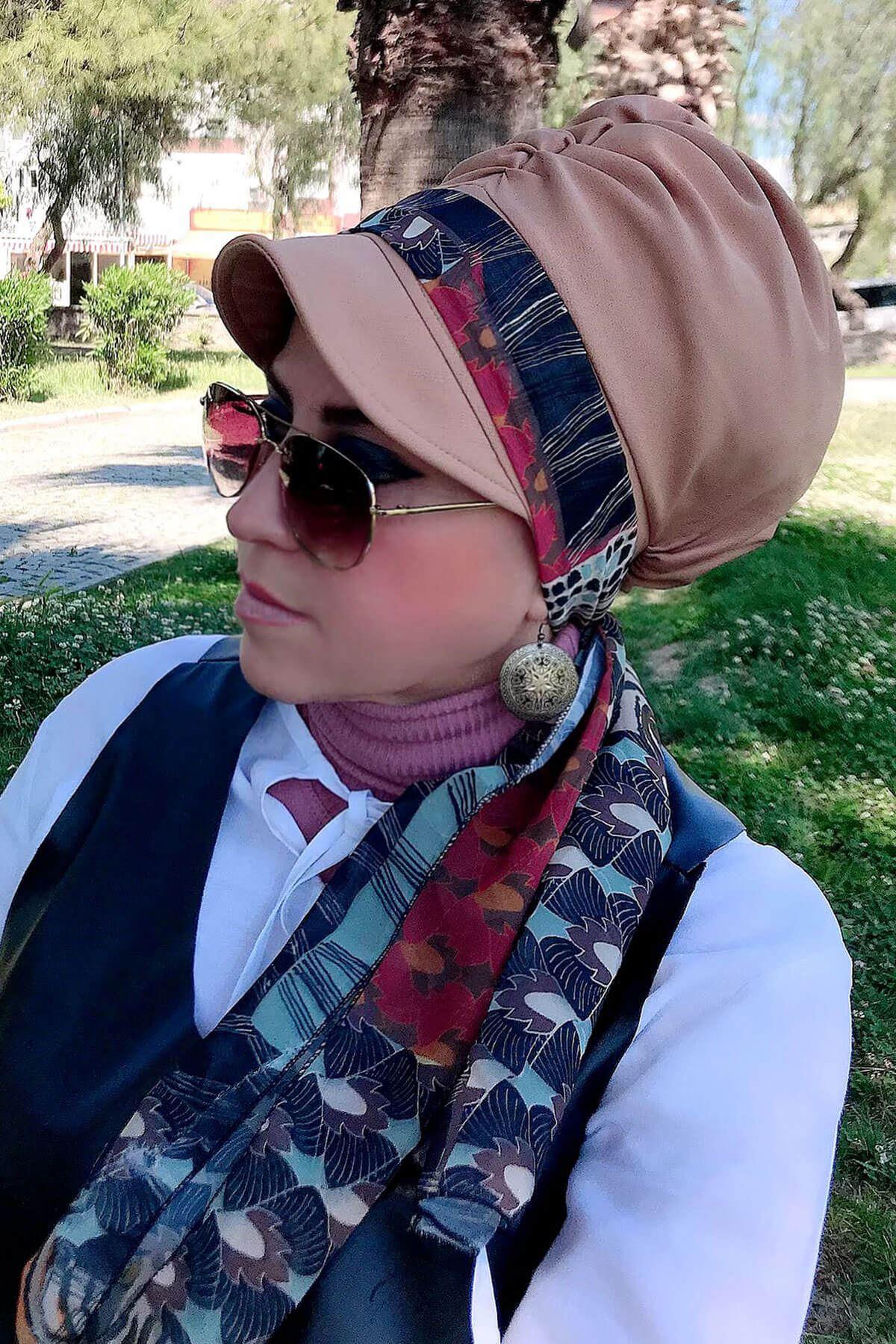 Lacivert Desenli Vizon Fularlı Şapka