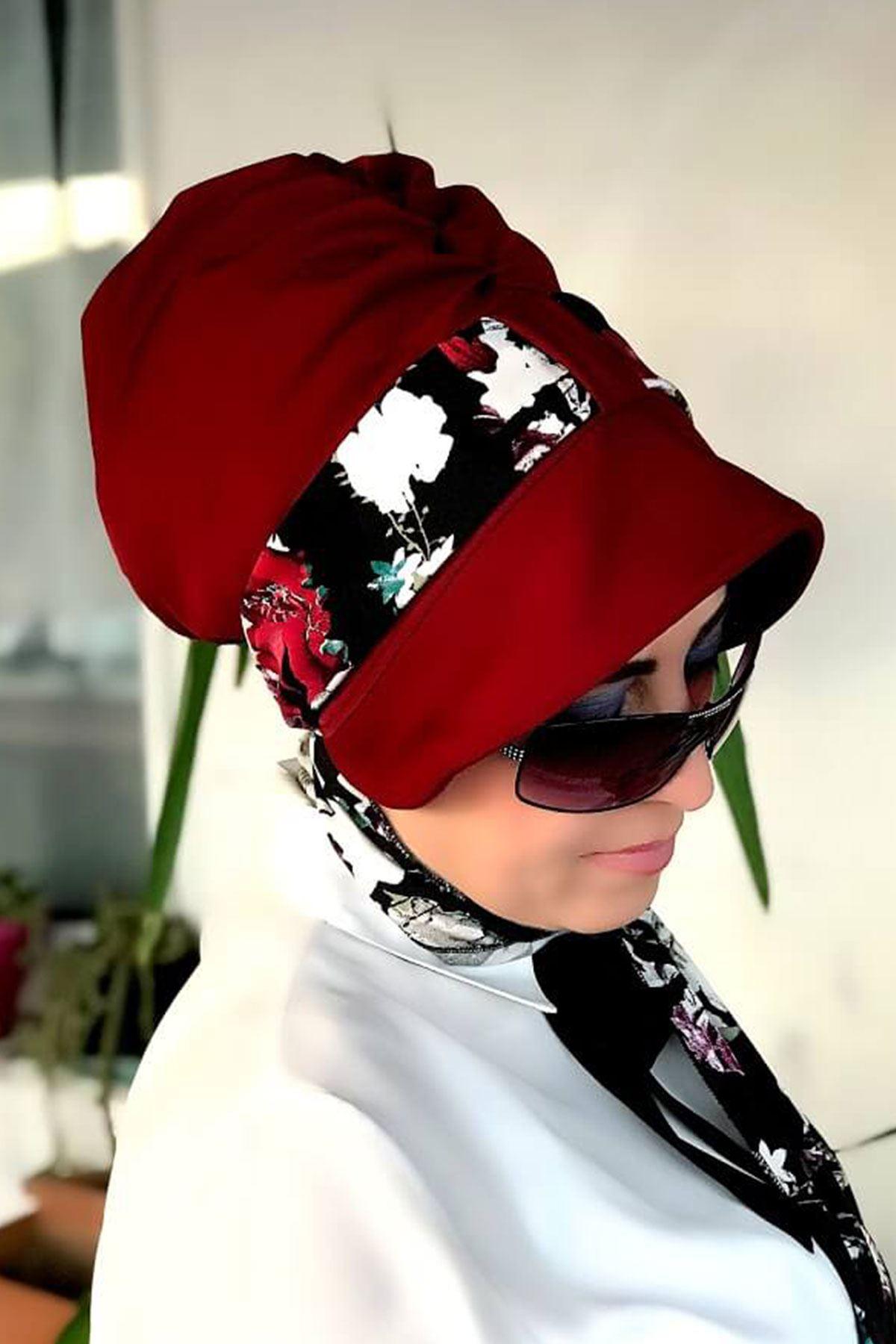 Çiçek Desenli Siyah Siperli Şapka