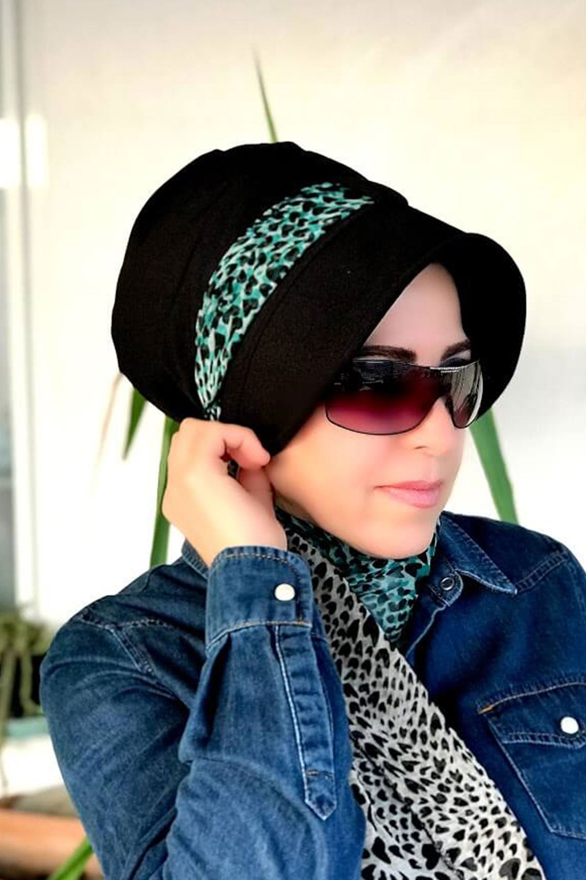 Leopar Desenli Sİyah Siperli Şapka