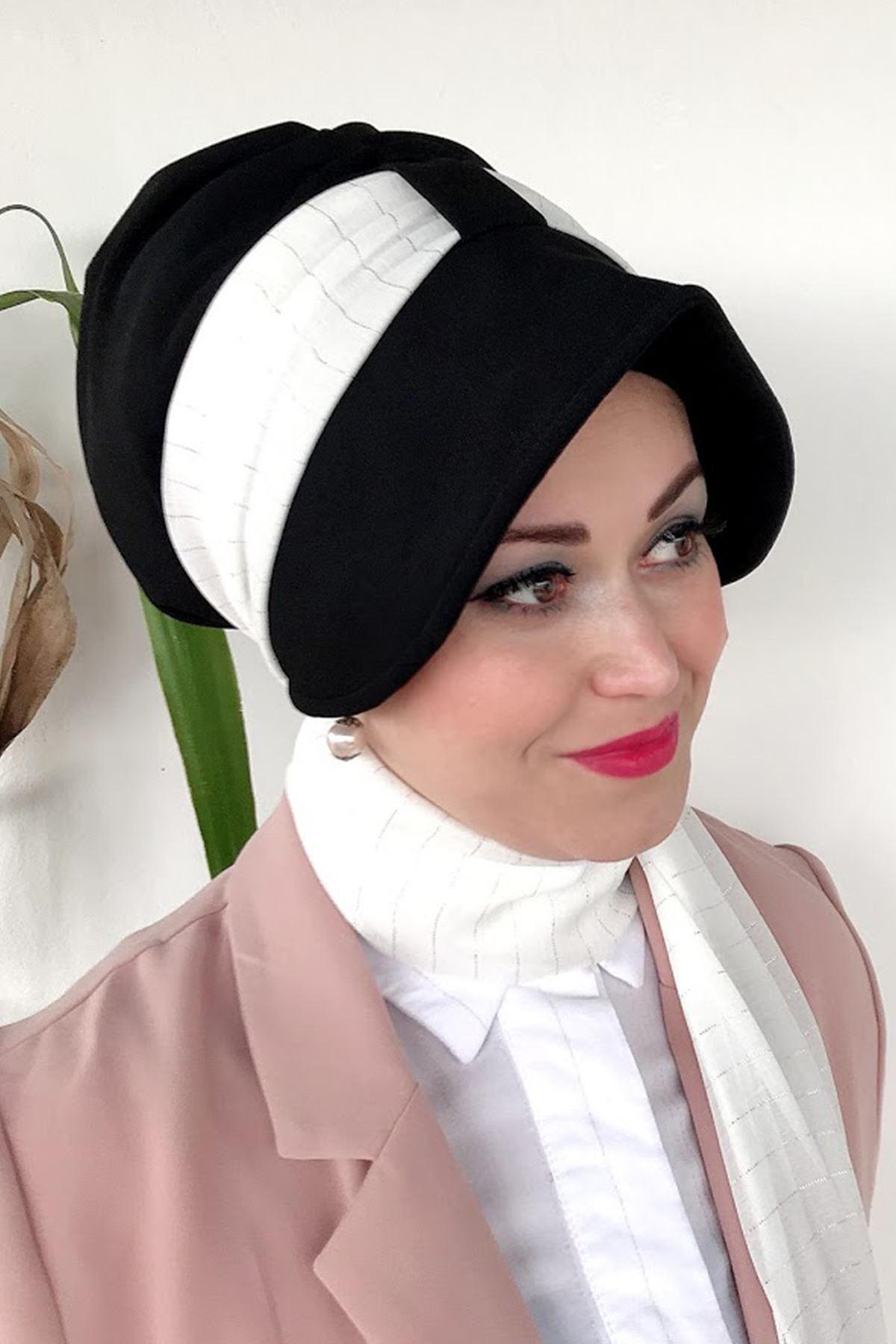Beyaz İnce Çizgi Desenli Siyah Siperli Şapka