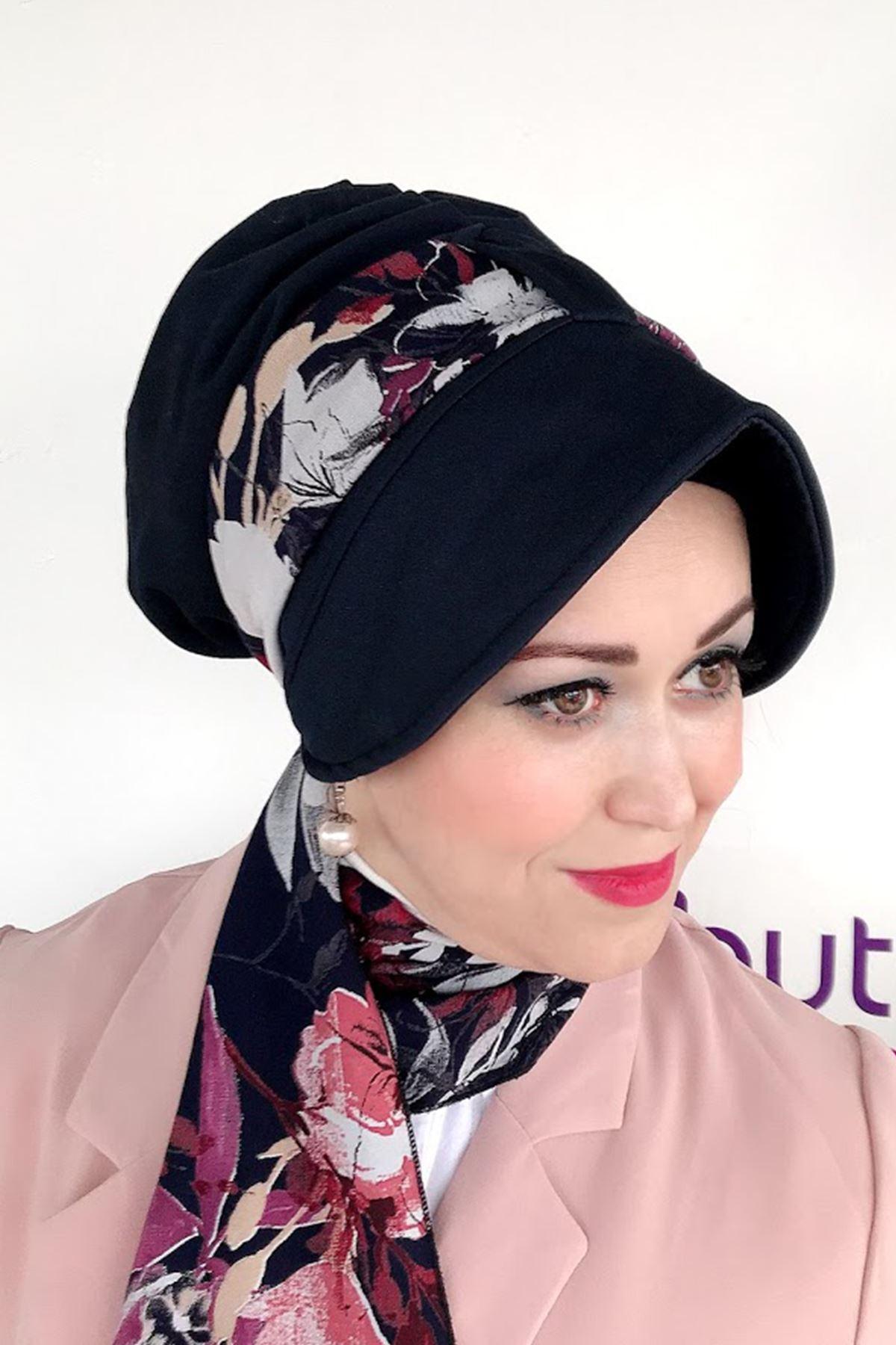 Karışık Çiçek Siyah Siperli Şapka