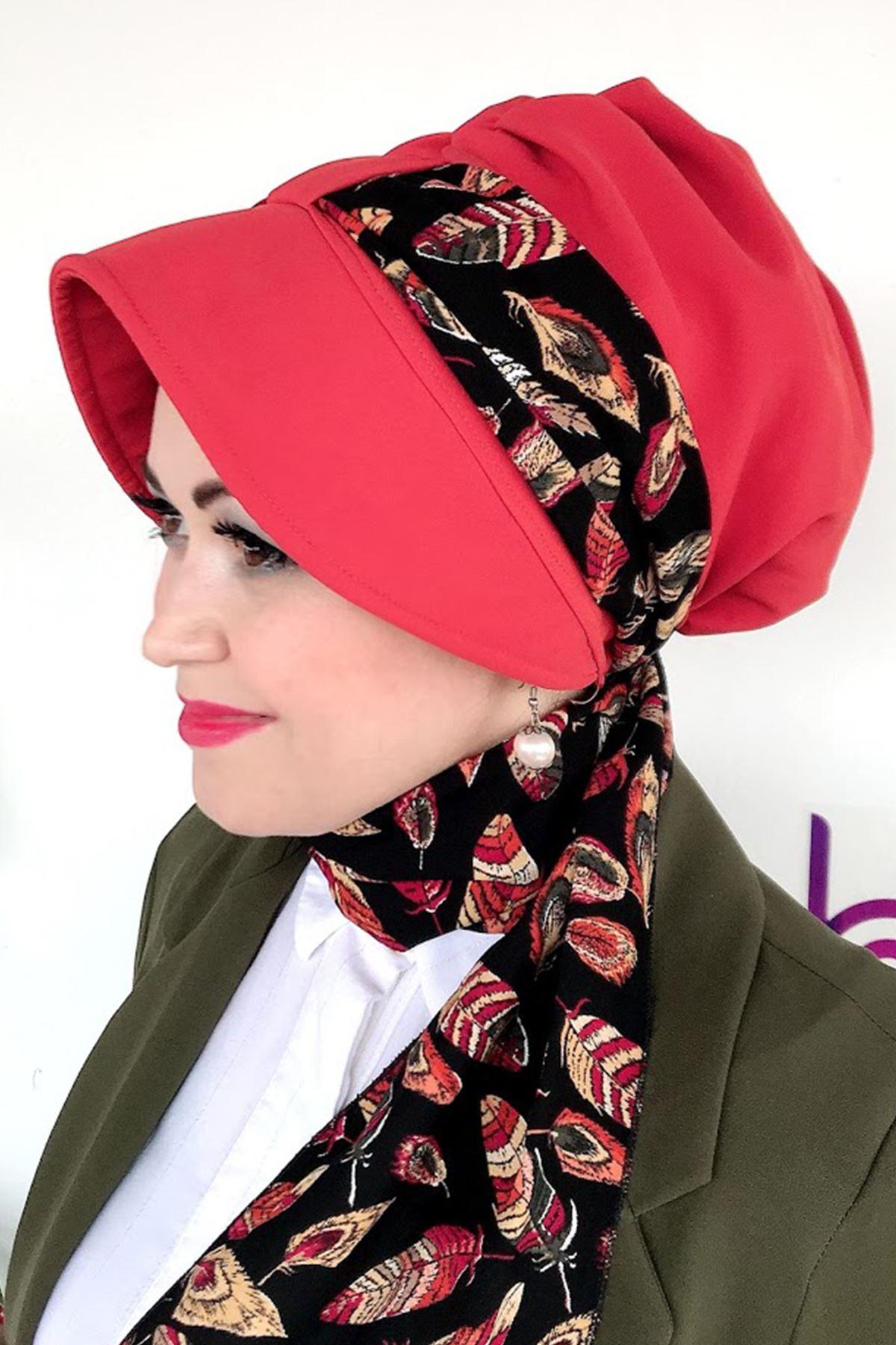 Kiremit Rengi Yapraklı Pembe Siperli Şapka
