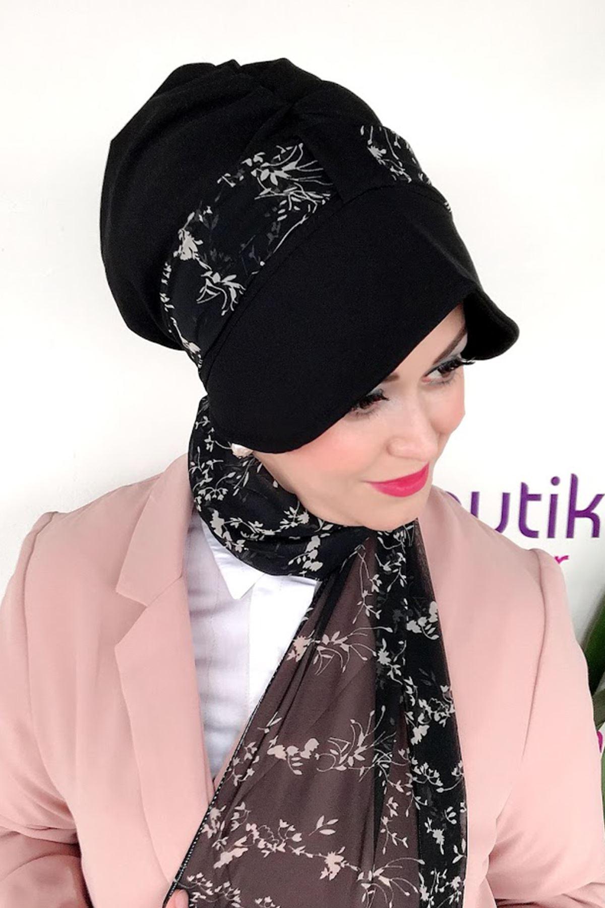 Minik Yaprak Desen Siyah Siperli Şapka