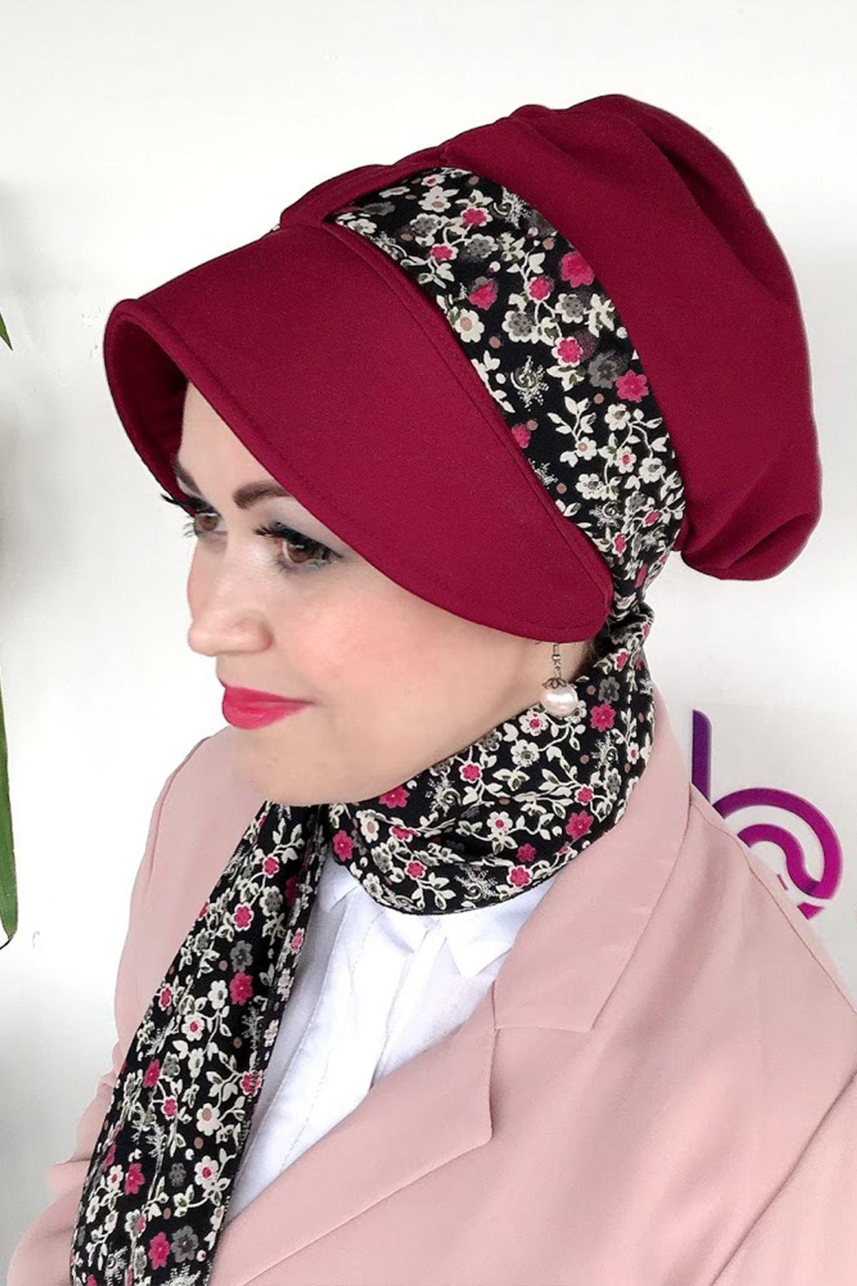 Renkli Çiçekli Bordo Siperli Şapka