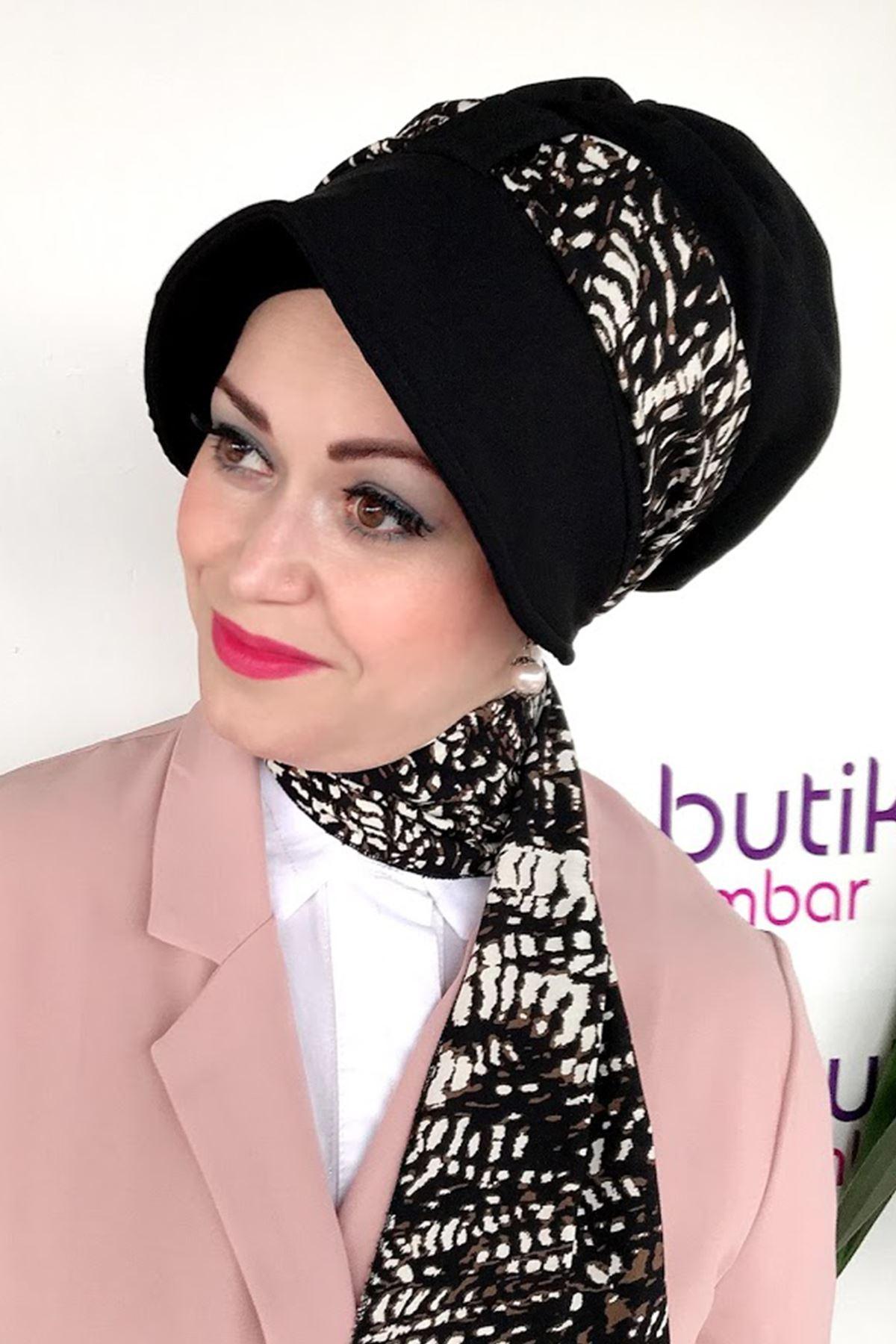 Yakma Desen Siyah Siperli Şapka