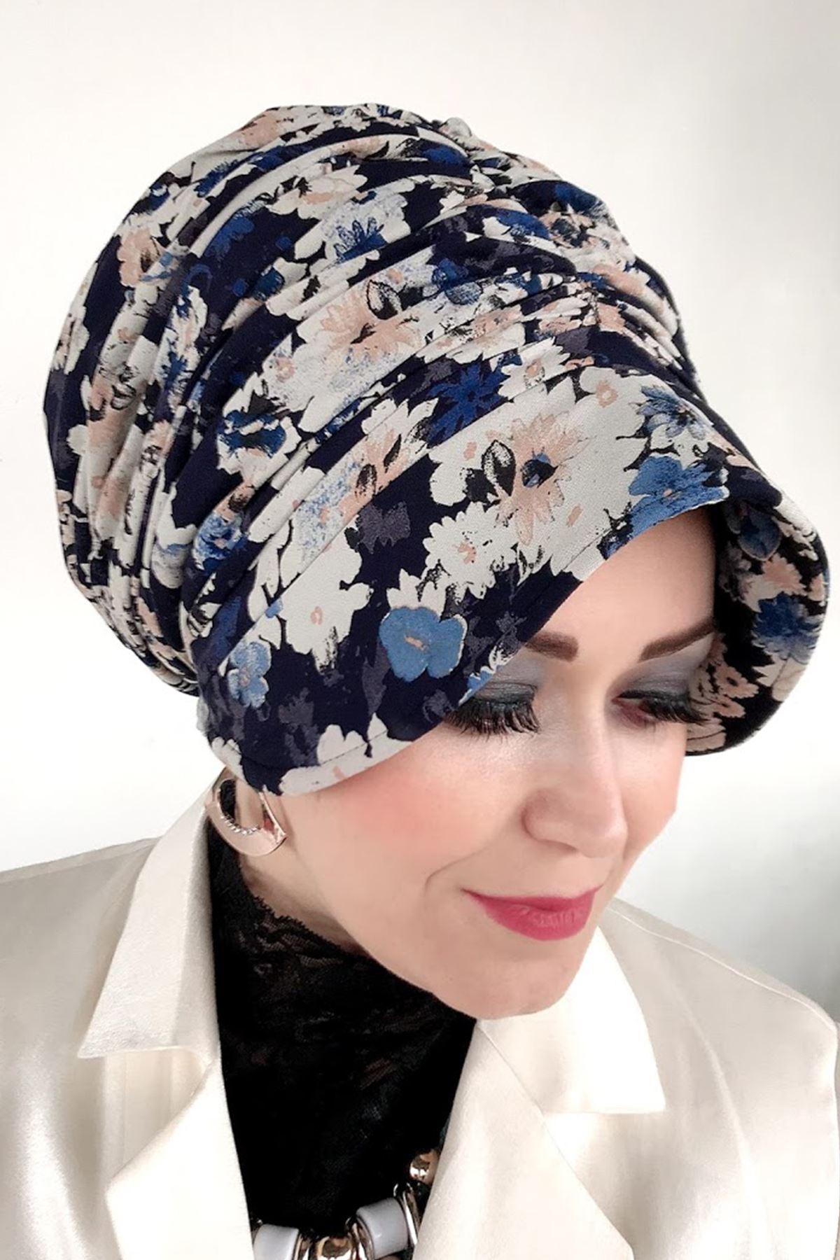 Mavi Krem Çiçekli Siperli Lastik Tokalı Bone