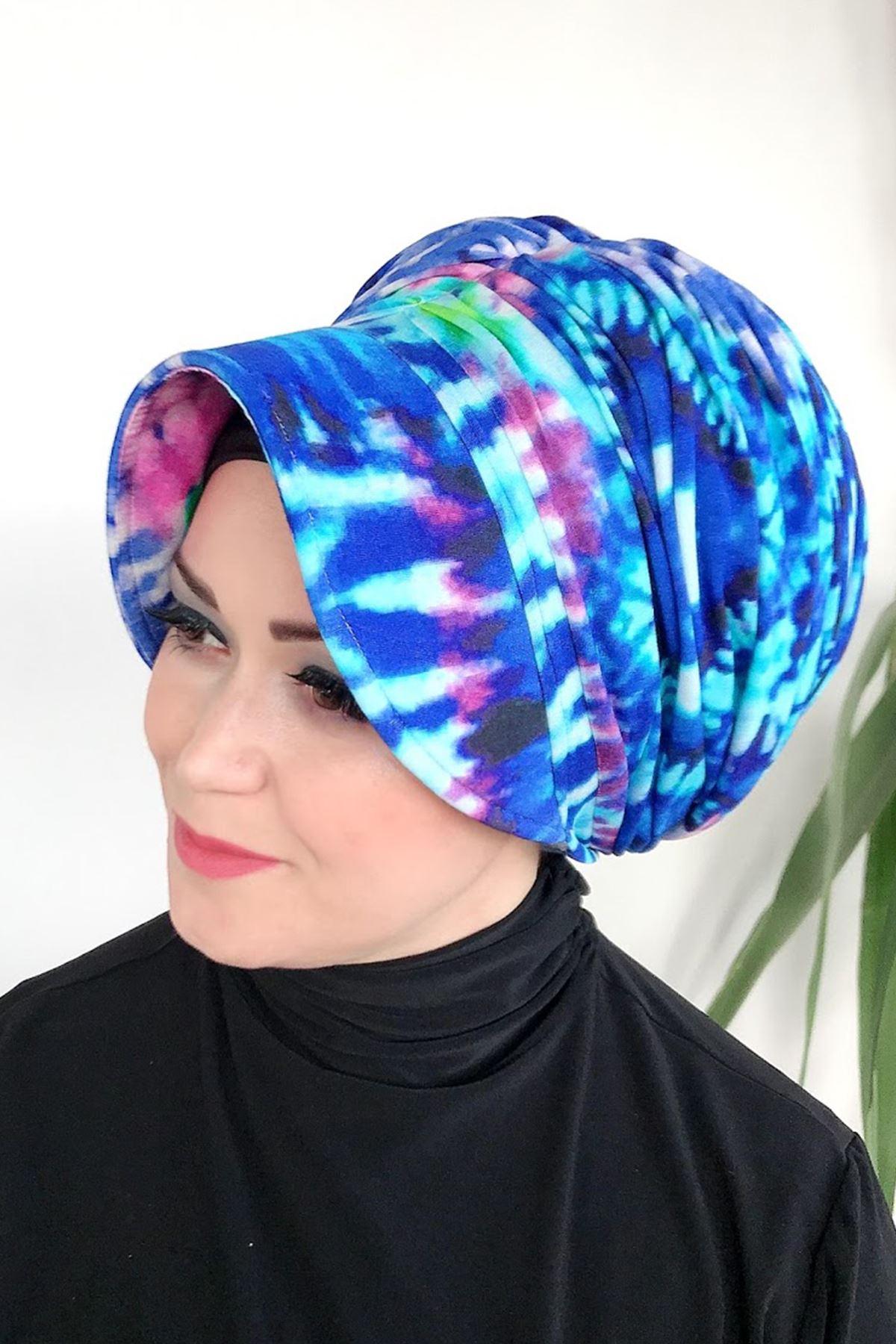 Mavi Yakma Desenli Deniz Şapkası
