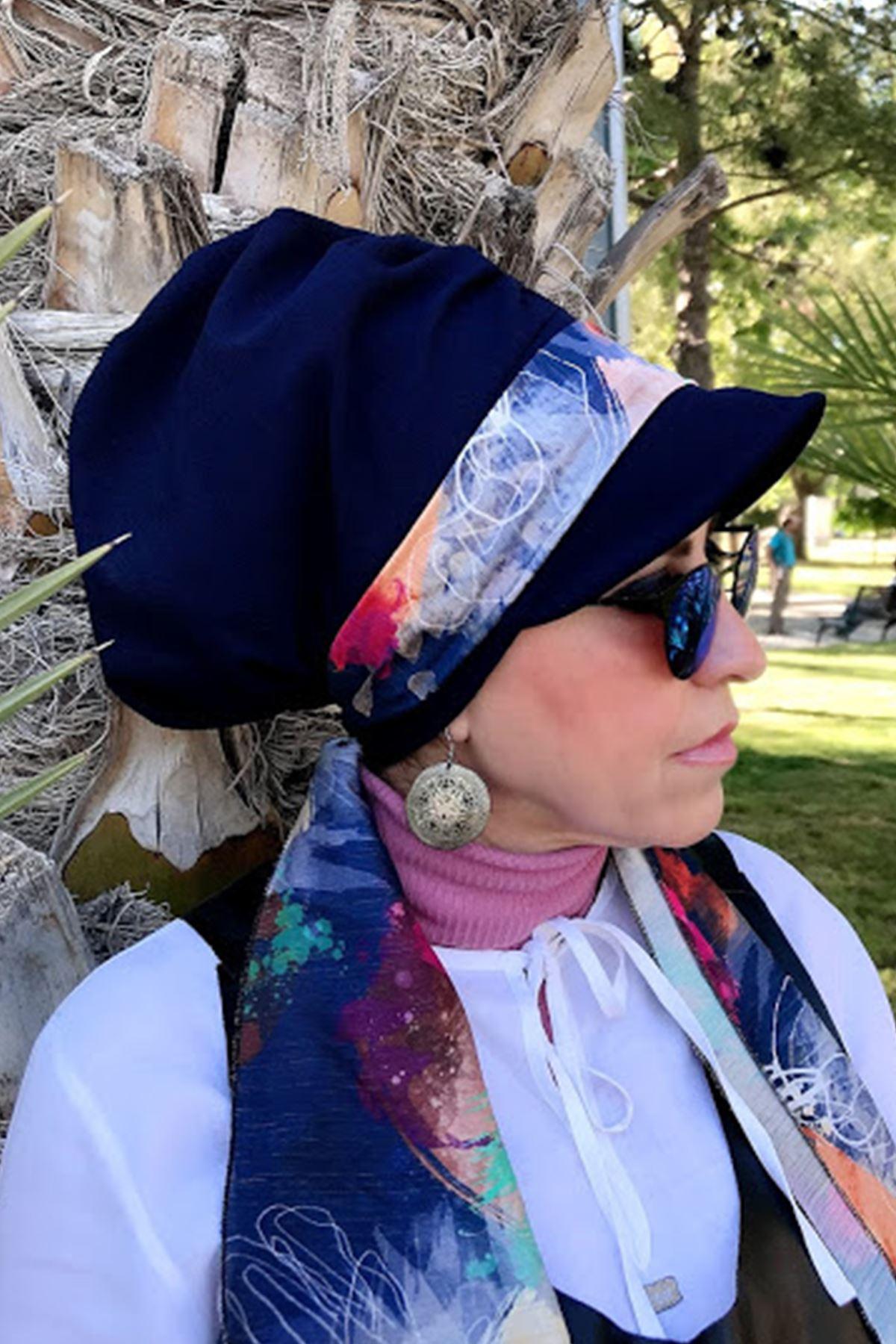 Karışık Renk Desenli Lacivert Fularlı  Şapka
