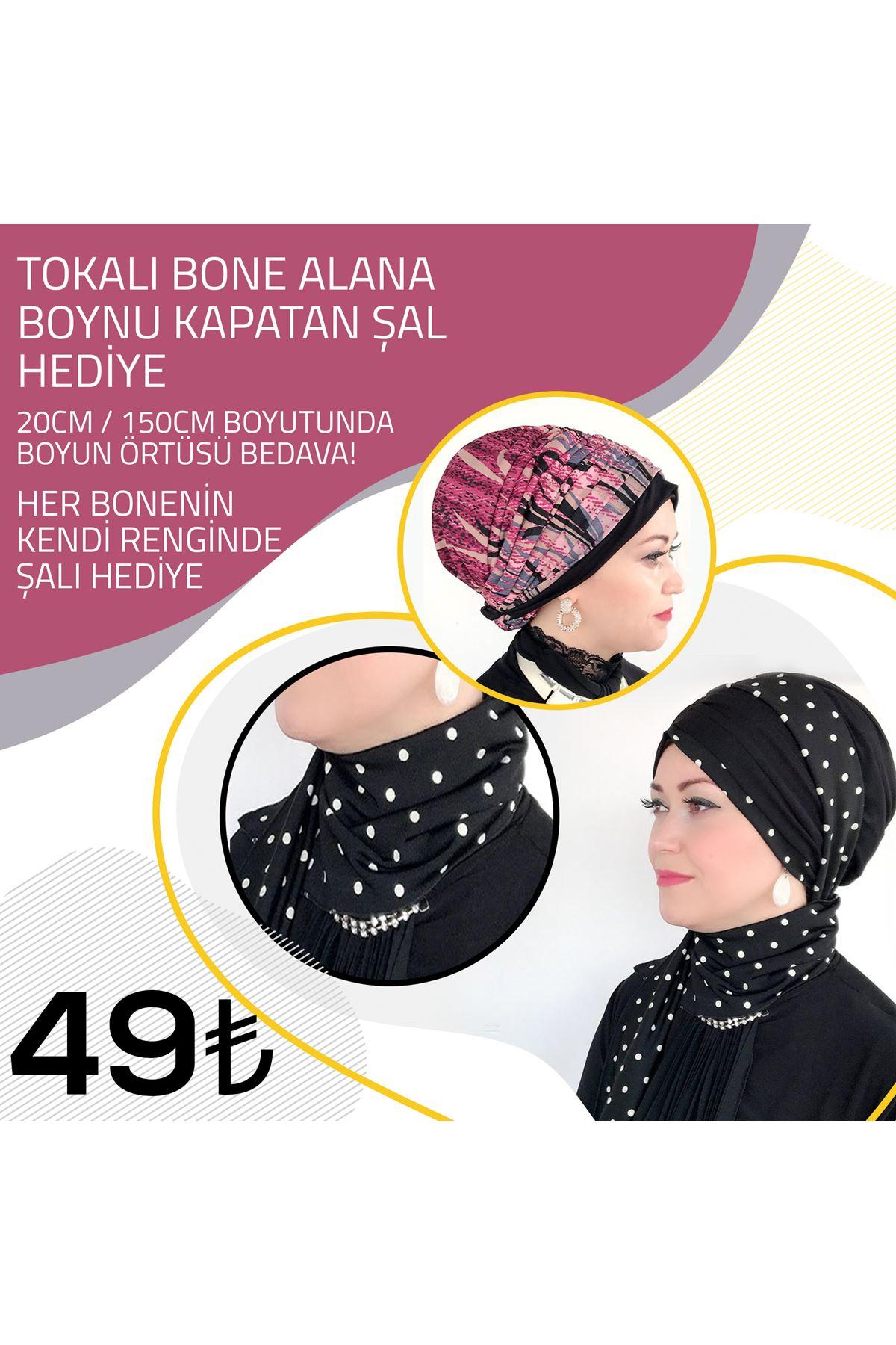 Pembe Uzun Yaprak Desen Lastik Tokalı Bone + Pembe Uzun Yaprak Desen Şal