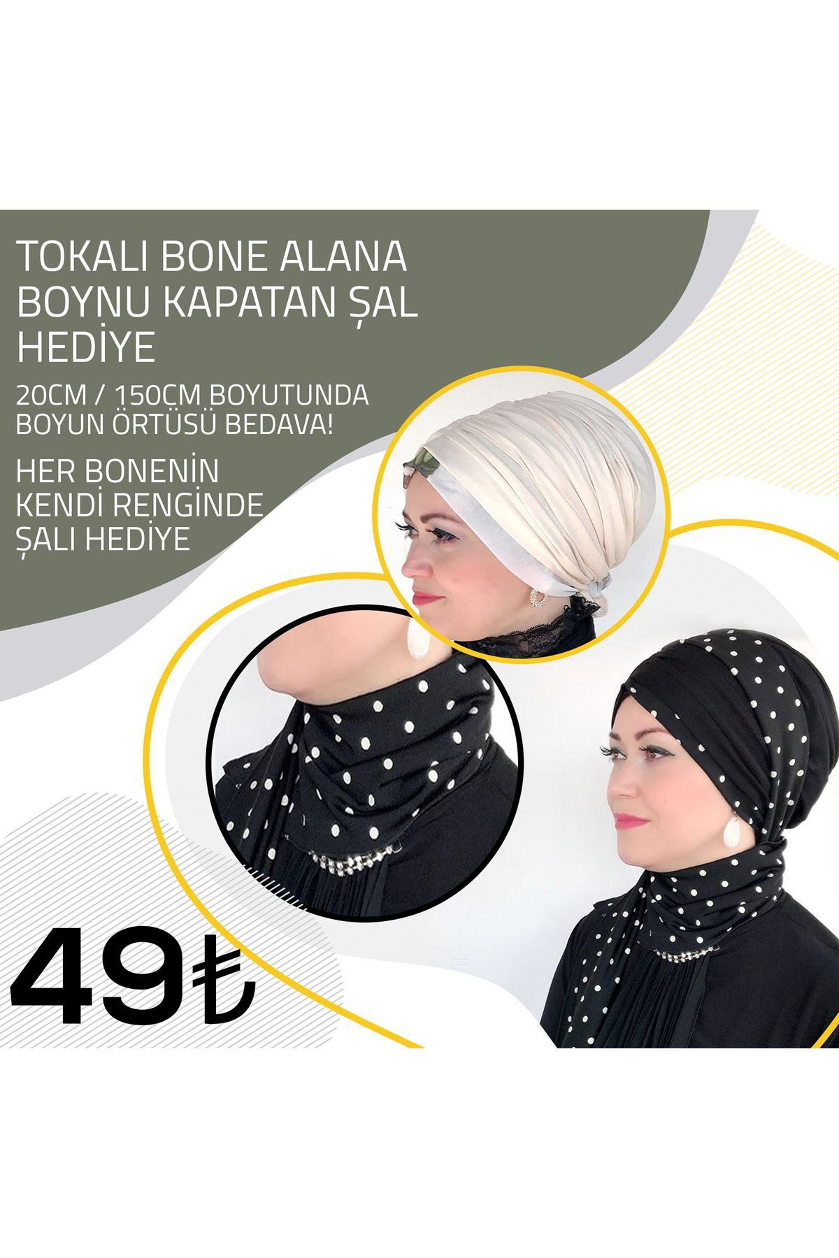 Yaprak Desenli Krem Lastik Tokalı Bone + Krem Şal