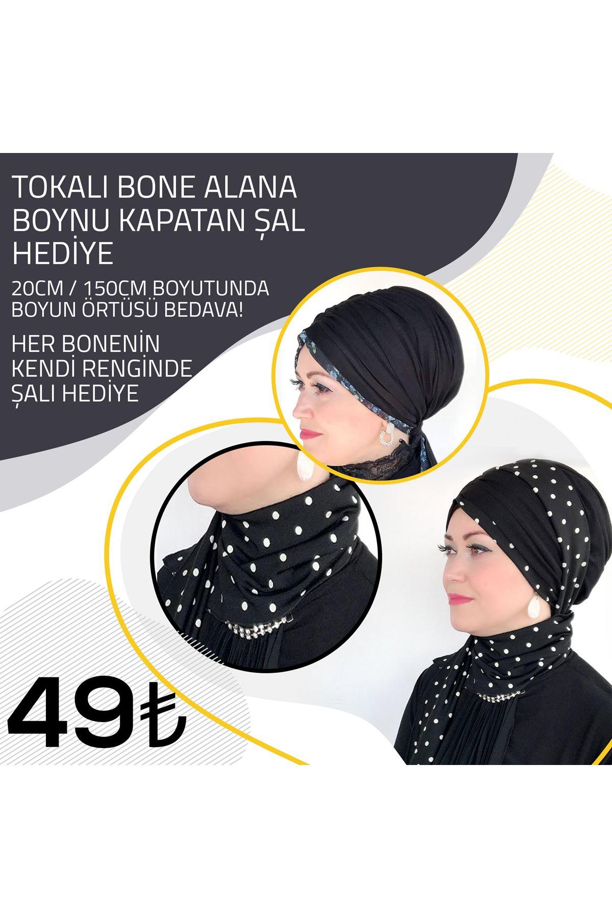 Küçük Mavi Çiçekli Siyah Lastik Tokalı Bone + Siyah Şal