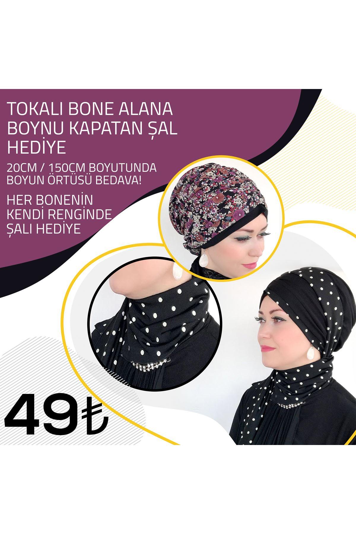 Ebru Bahar Desenli Siyah Tokalı Bone + Ebru Bahar Desenli Şal