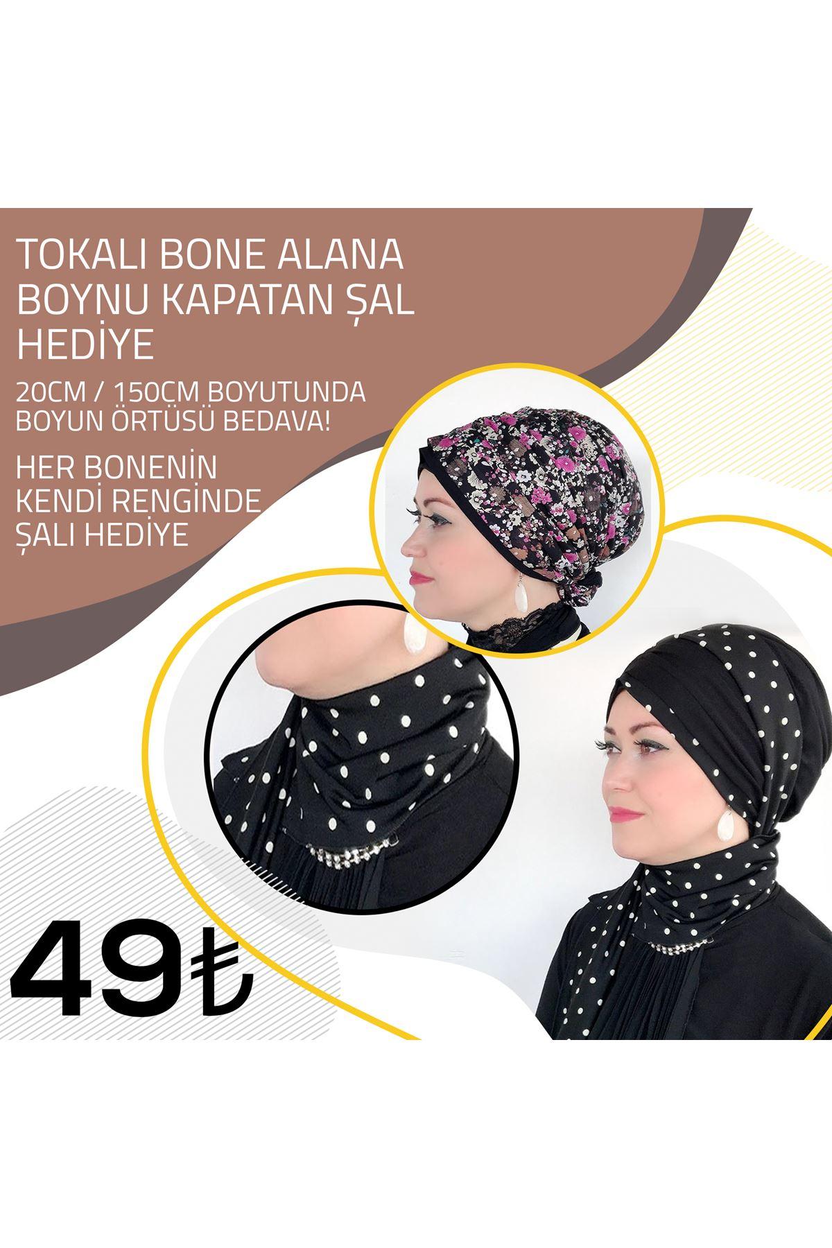 Ebru Yaz Desenli Siyah Tokalı Bone + Ebru Yaz Desenli Şal