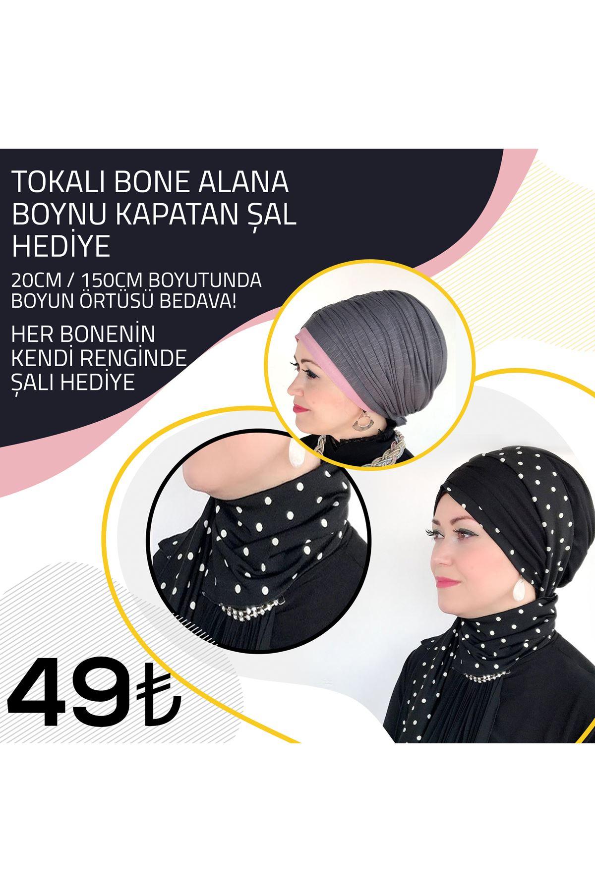 Gri Pembe Lastik Tokalı Bone + Gri Pembe Şal