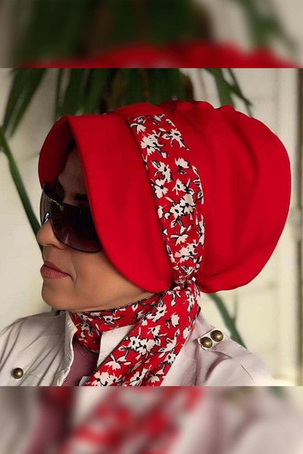 Beyaz Çiçekli Kırmzı Siperli Şapka