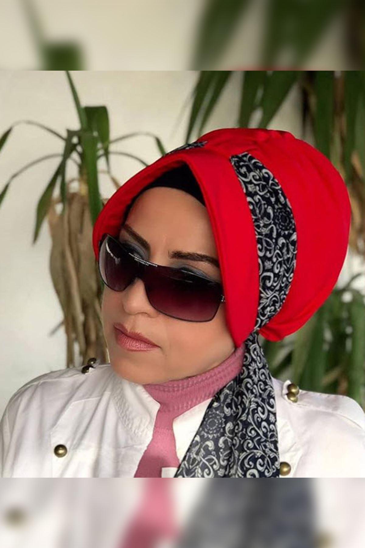 Beyaz Detaylı Kırmızı Siperli Şapka