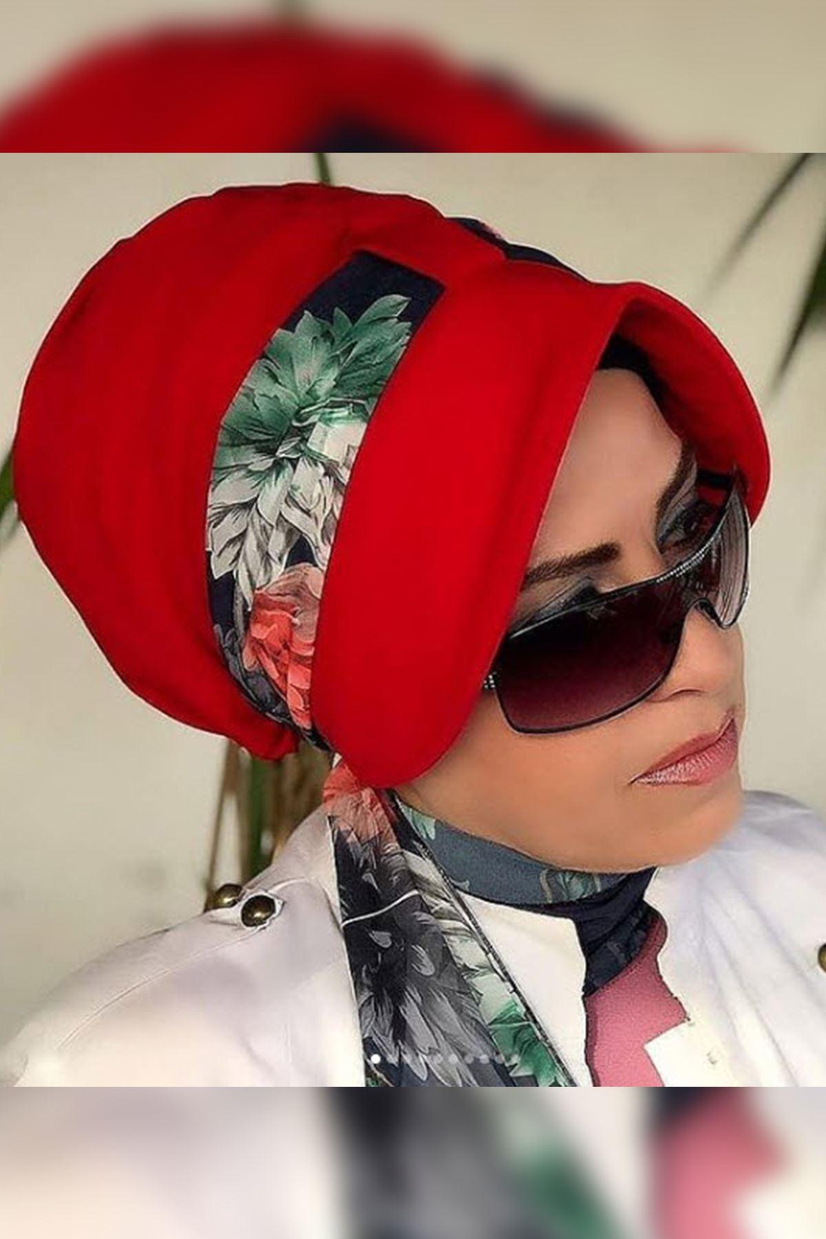 Büyük Çiçekli Kırmızı Siperli Şapka