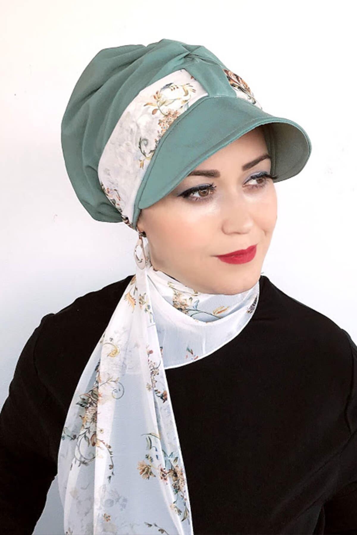 Su Yeşili Tek Biritli Fularlı Şapka