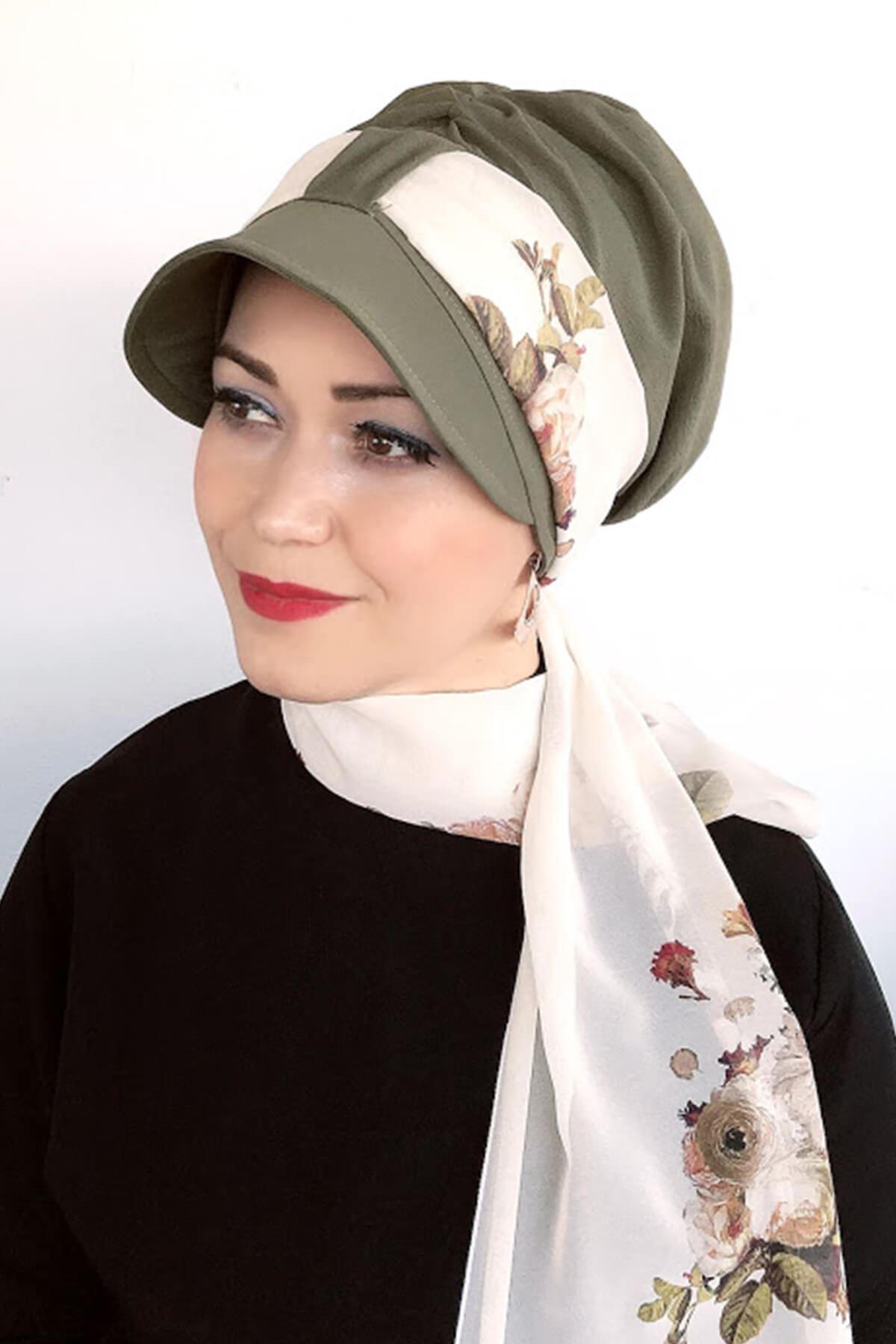 Yeşil Tek Biritli Fularlı Şapka