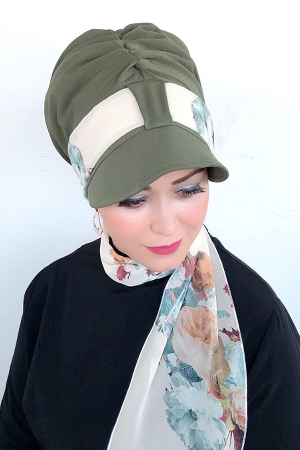 Acı Yeşil Tek Biritli Fularlı Şapka
