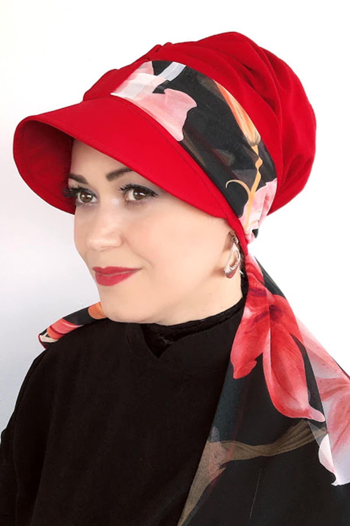 Ateş Kırmızı Tek Biritli Fularlı Şapka