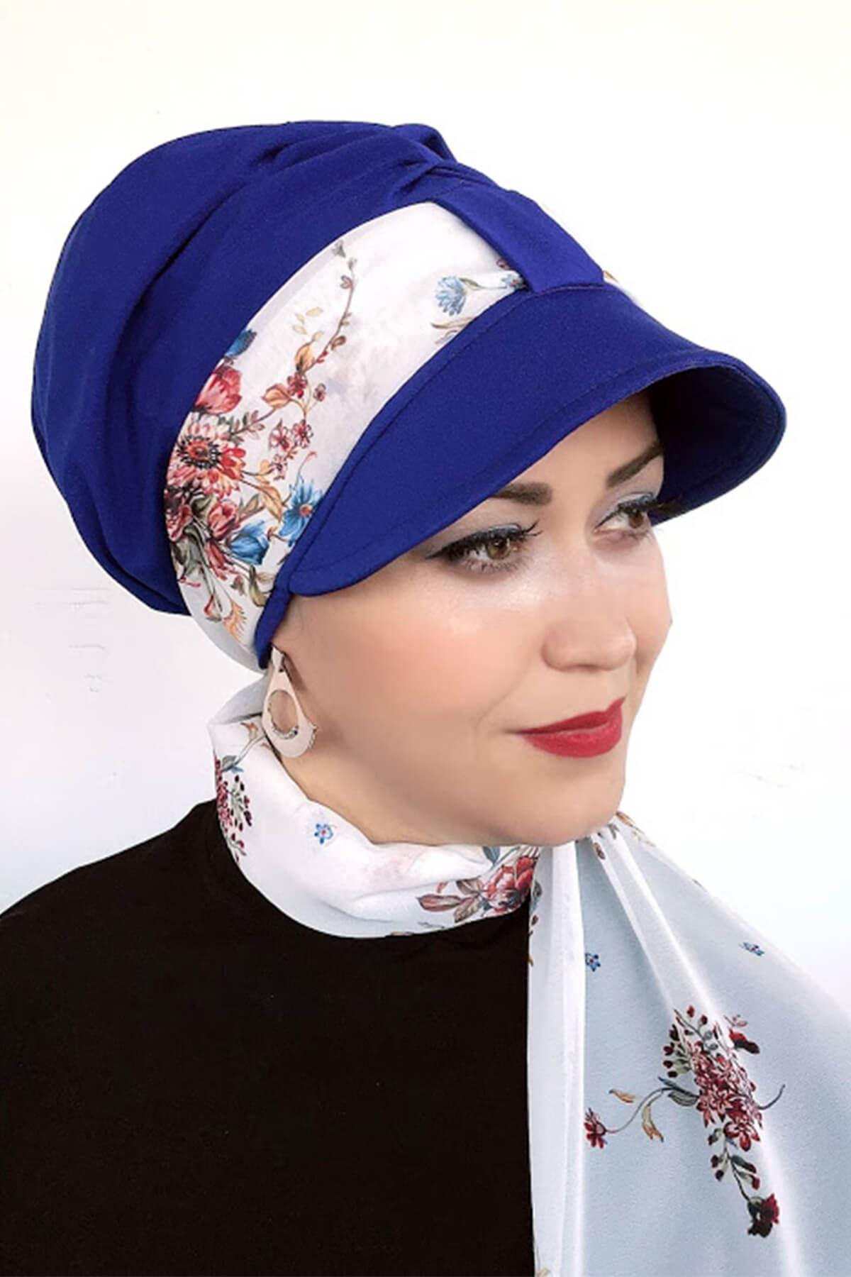 Saks Mavisi Tek Biritli Fularlı Şapka