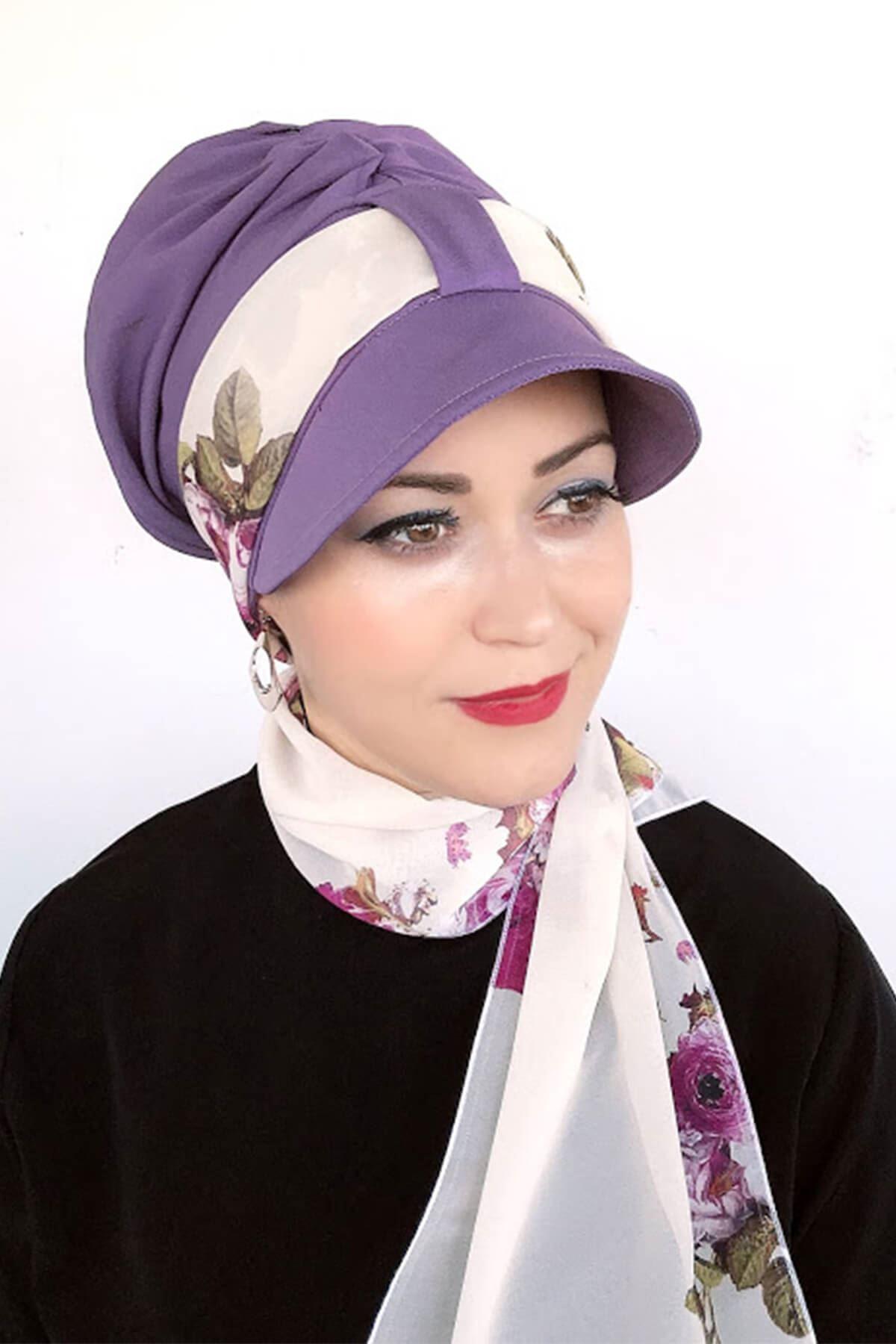 Lila Rengi Tek Biritli Fularlı Şapka