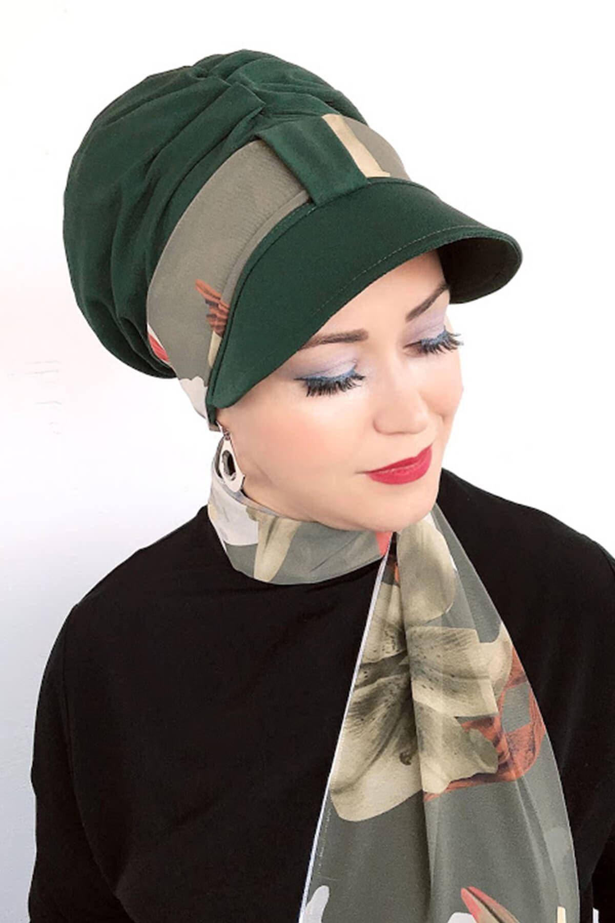 Koyu Yeşil Tek Biritli Fularlı Şapka