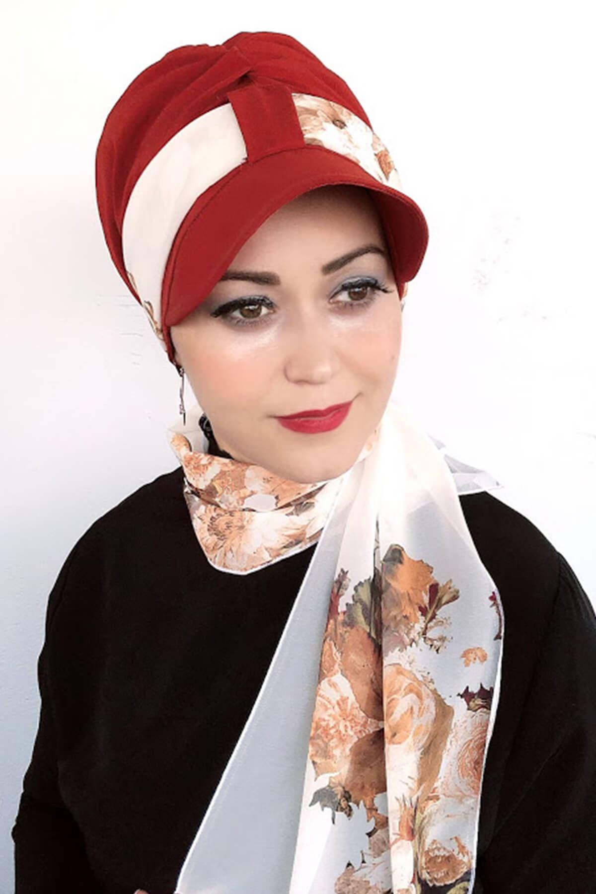 Koyu Kremit Rengi Tek Biritli Fularlı Şapka