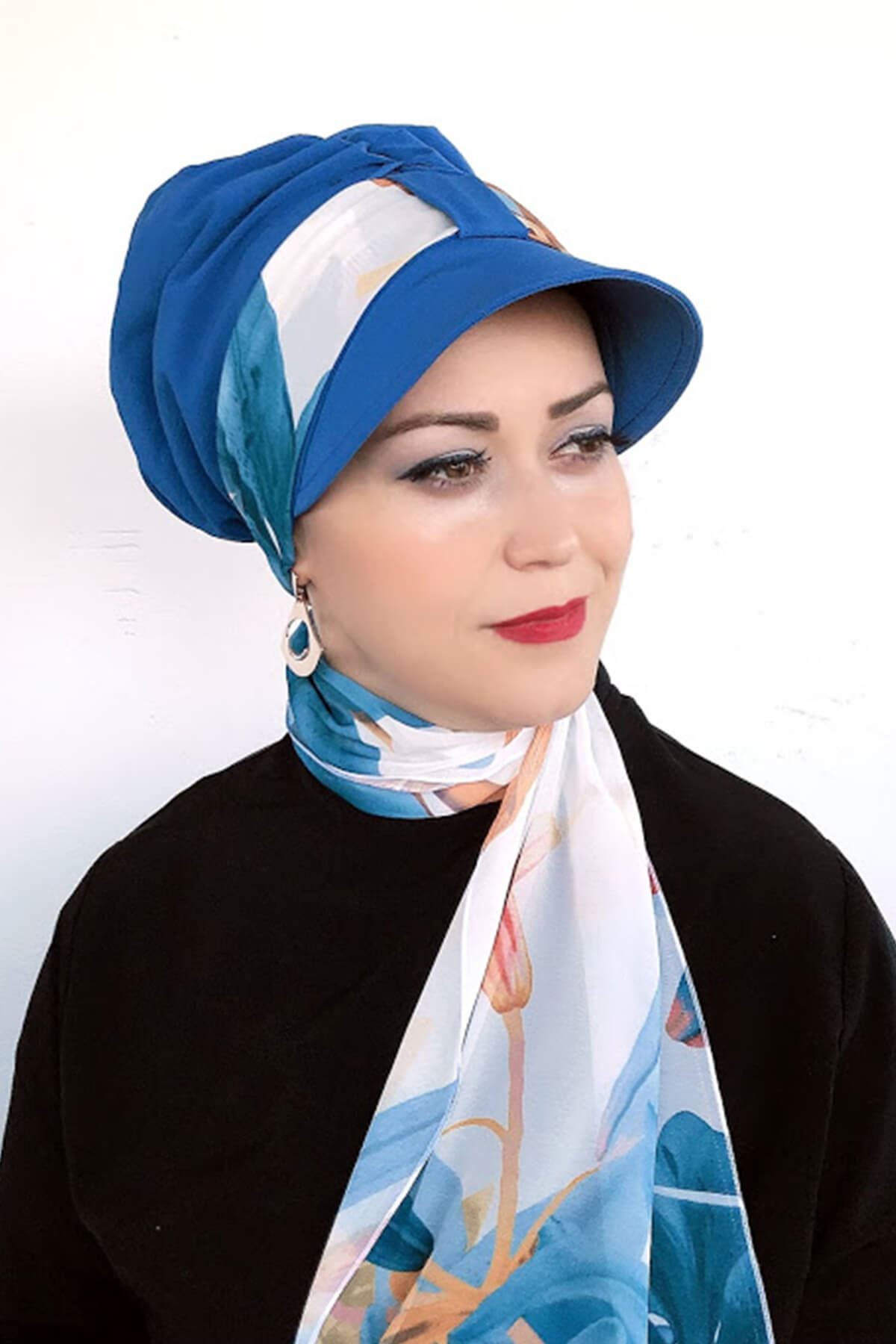 Deniz Mavisi Tek Biritli Fularlı Şapka