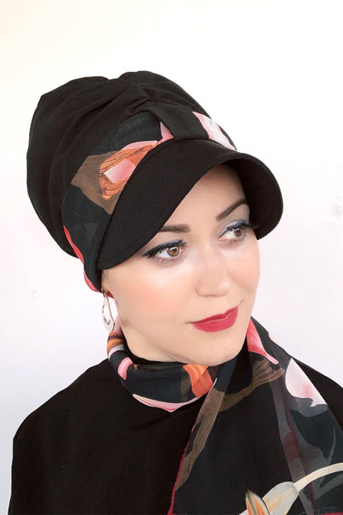 Siyah Tek Biritli Fularlı Şapka