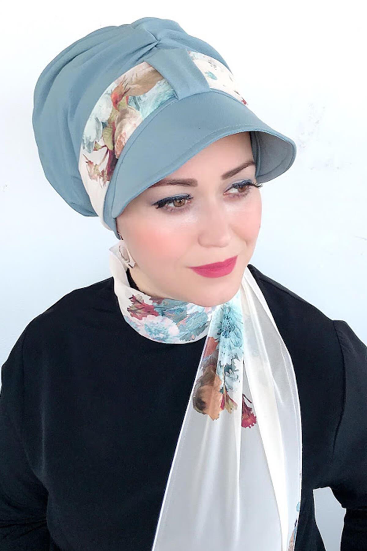 Soft Mavi Tek Biritli Fularlı Şapka