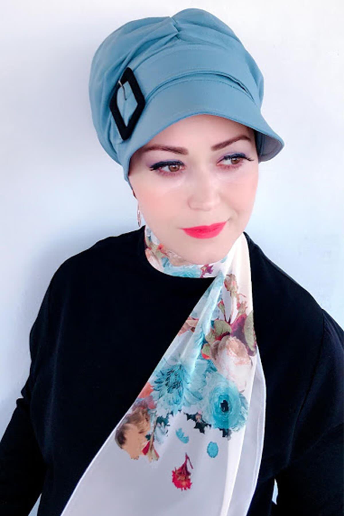 Bebek Mavisi Siyah Tokalı Şapka
