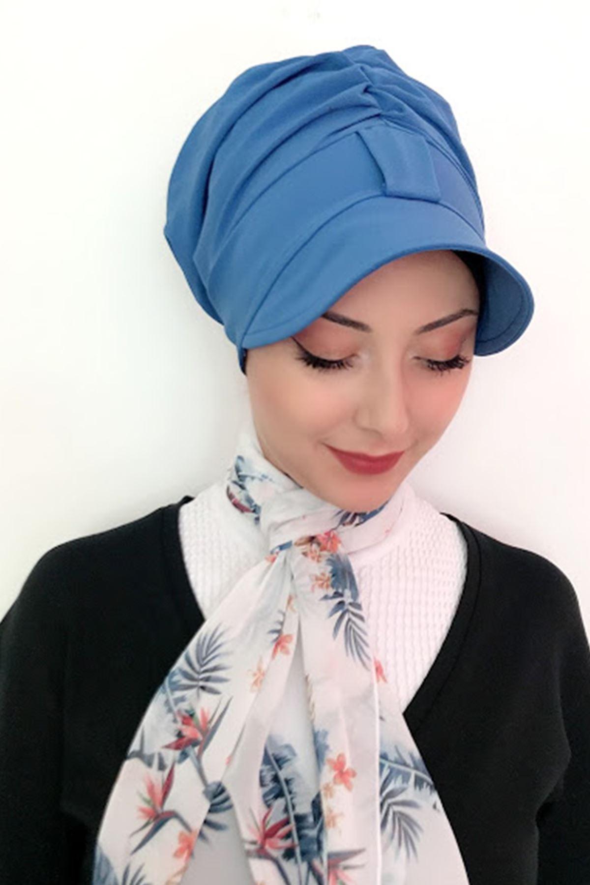 Açık Mavi Tek Biritli Fularlı Şapka