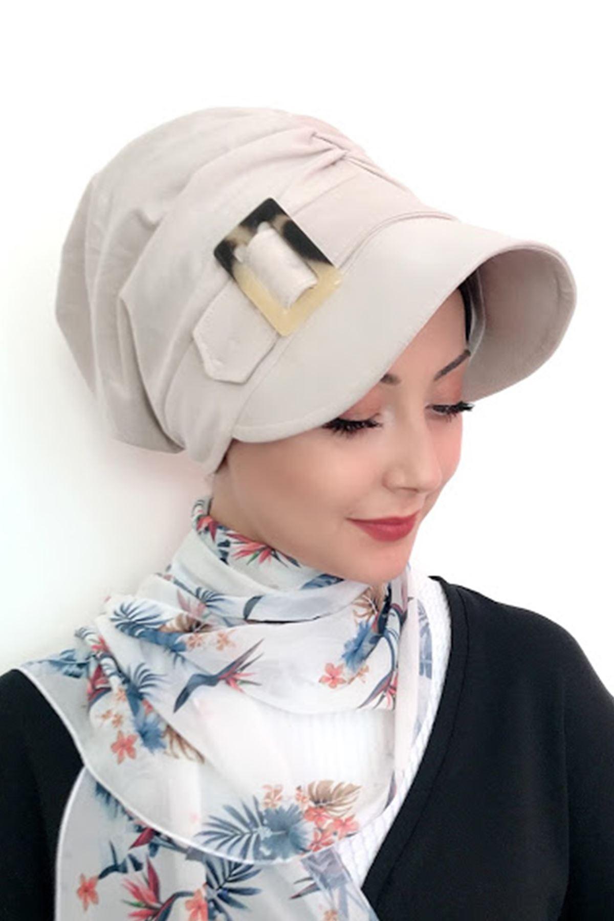 Krem Renkli Tokalı Şapka