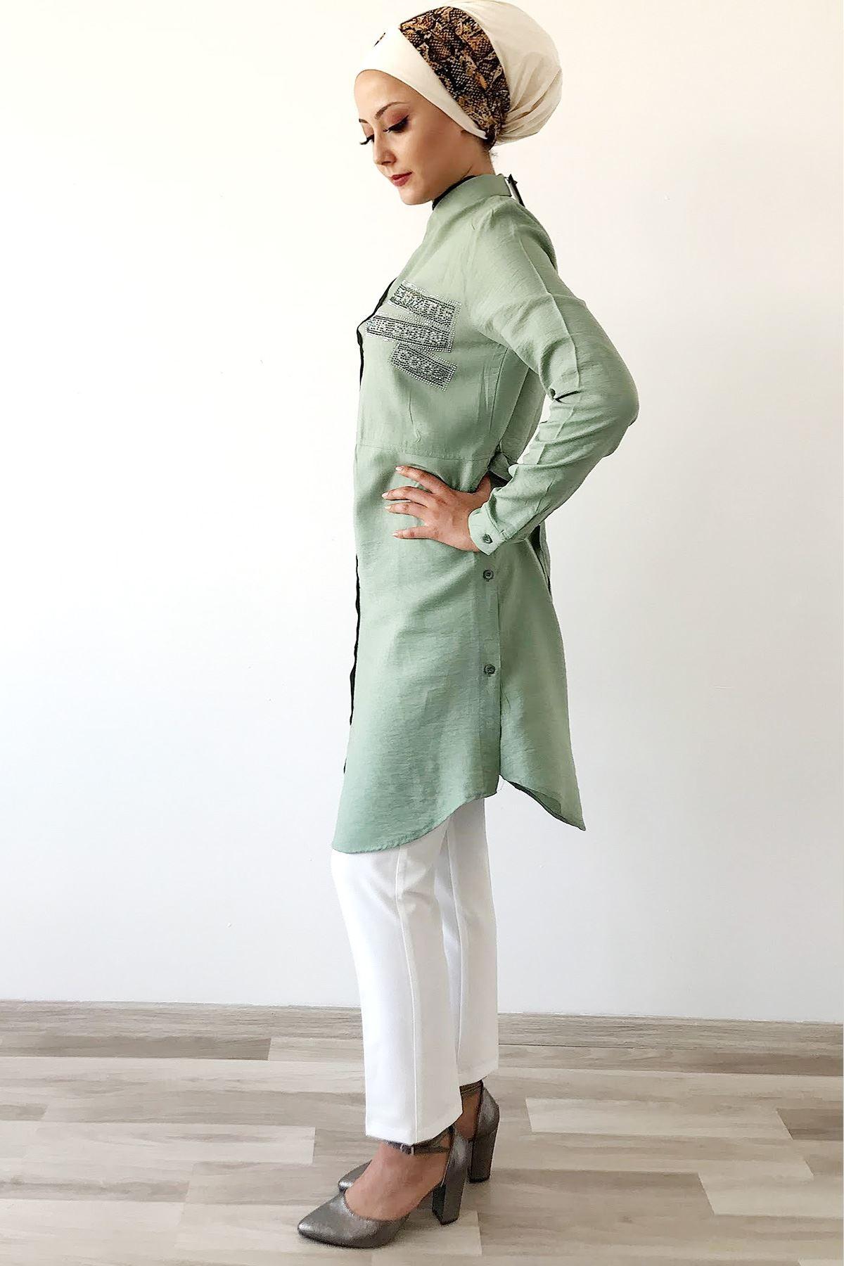 Açık Yeşil Taşlı Tunik Gömlek