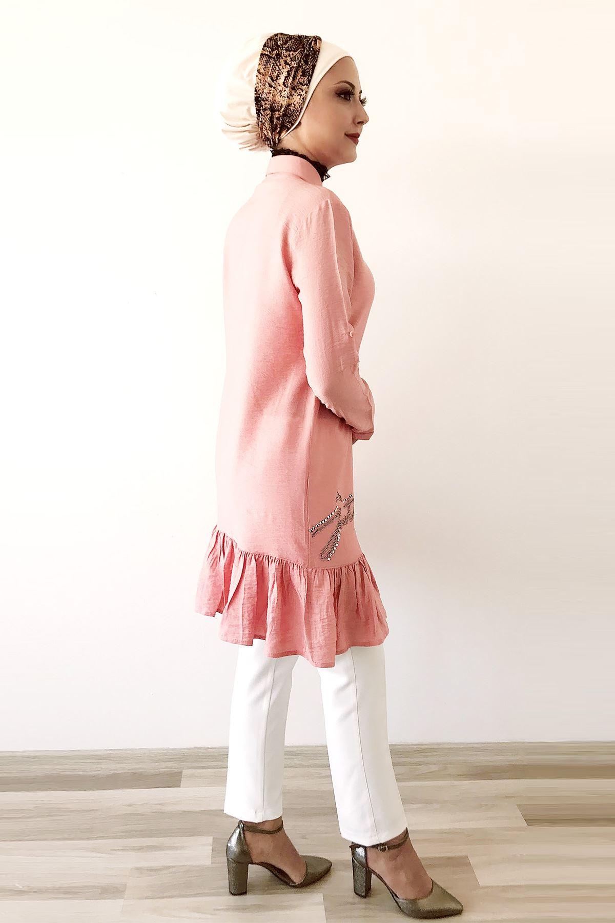 Taşlı Yavruağzı Tunik Gömlek