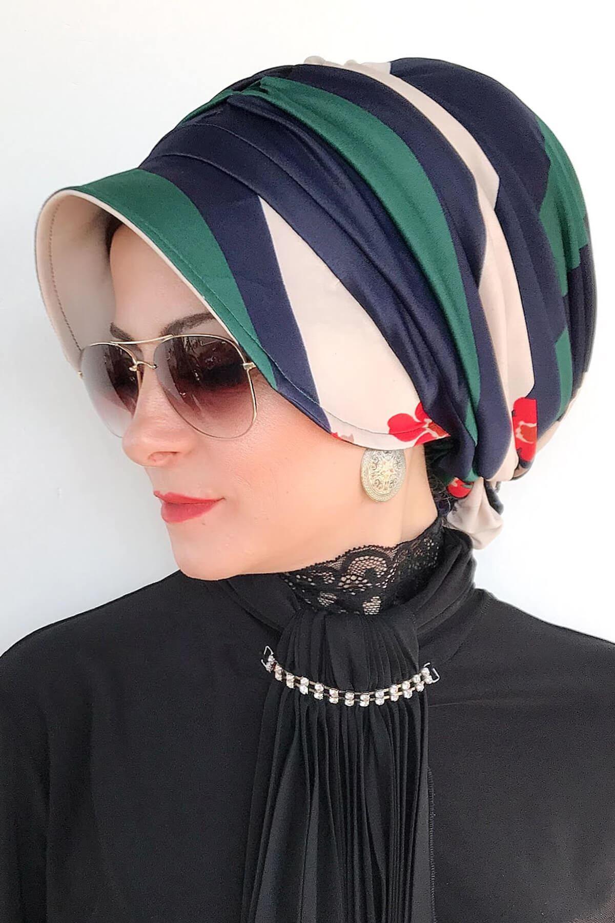 Çiçekli Çizgili Hazır Şapka Şal