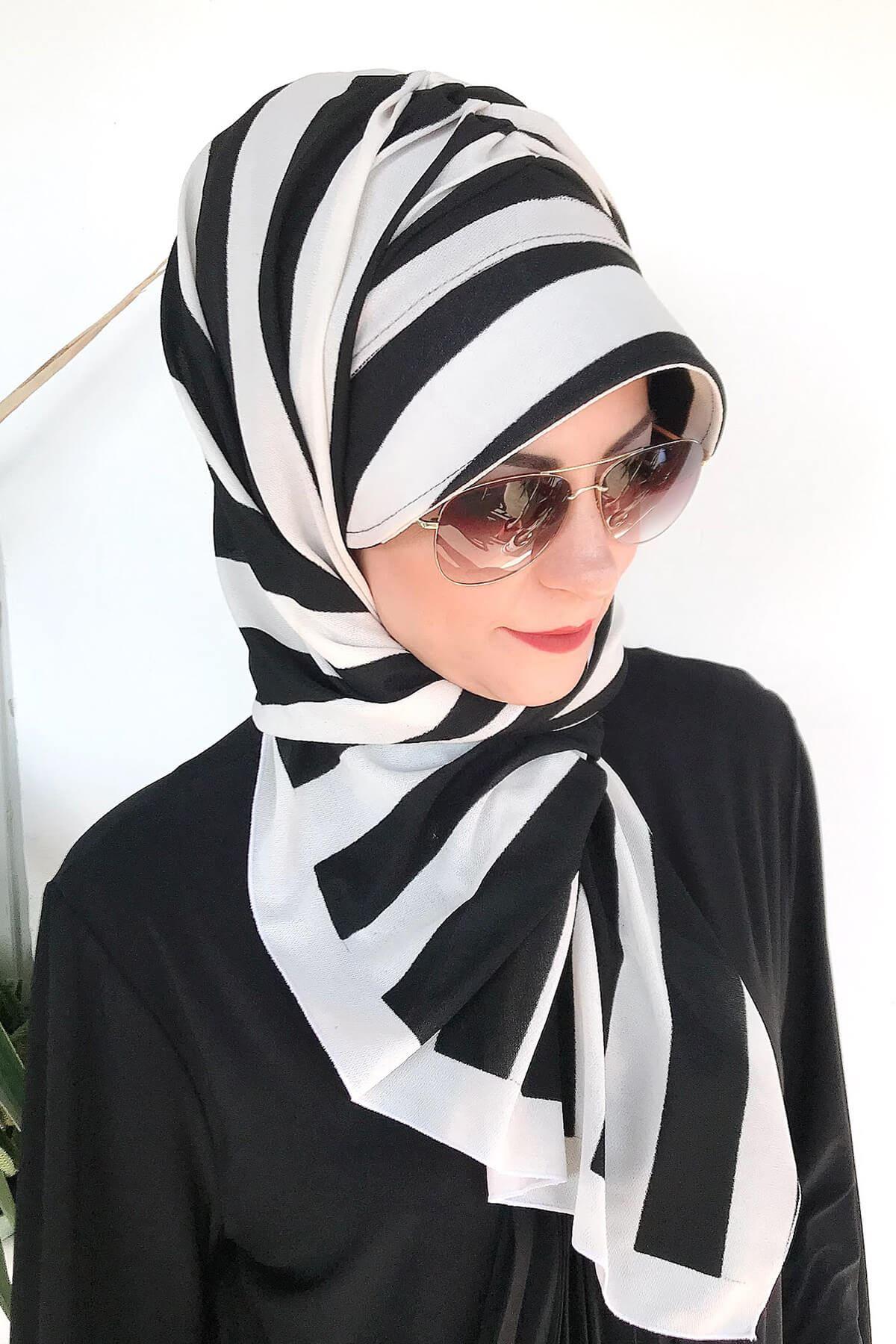Çizgili Beyaz Siyah Hazır Şapka Şal