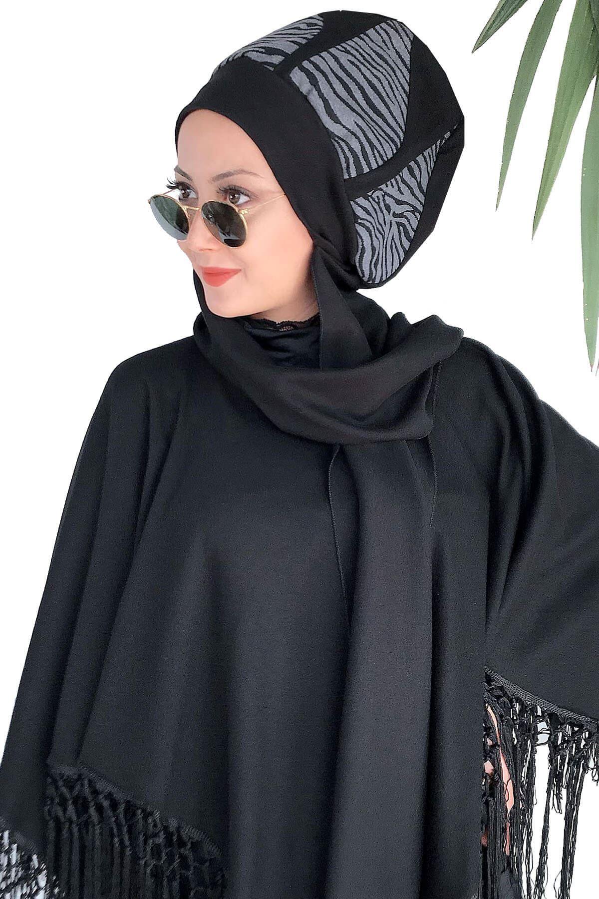 Siyah Dantelli Panço&Dalga Desenli Damla Model Atkılı Bere Şal Kombin