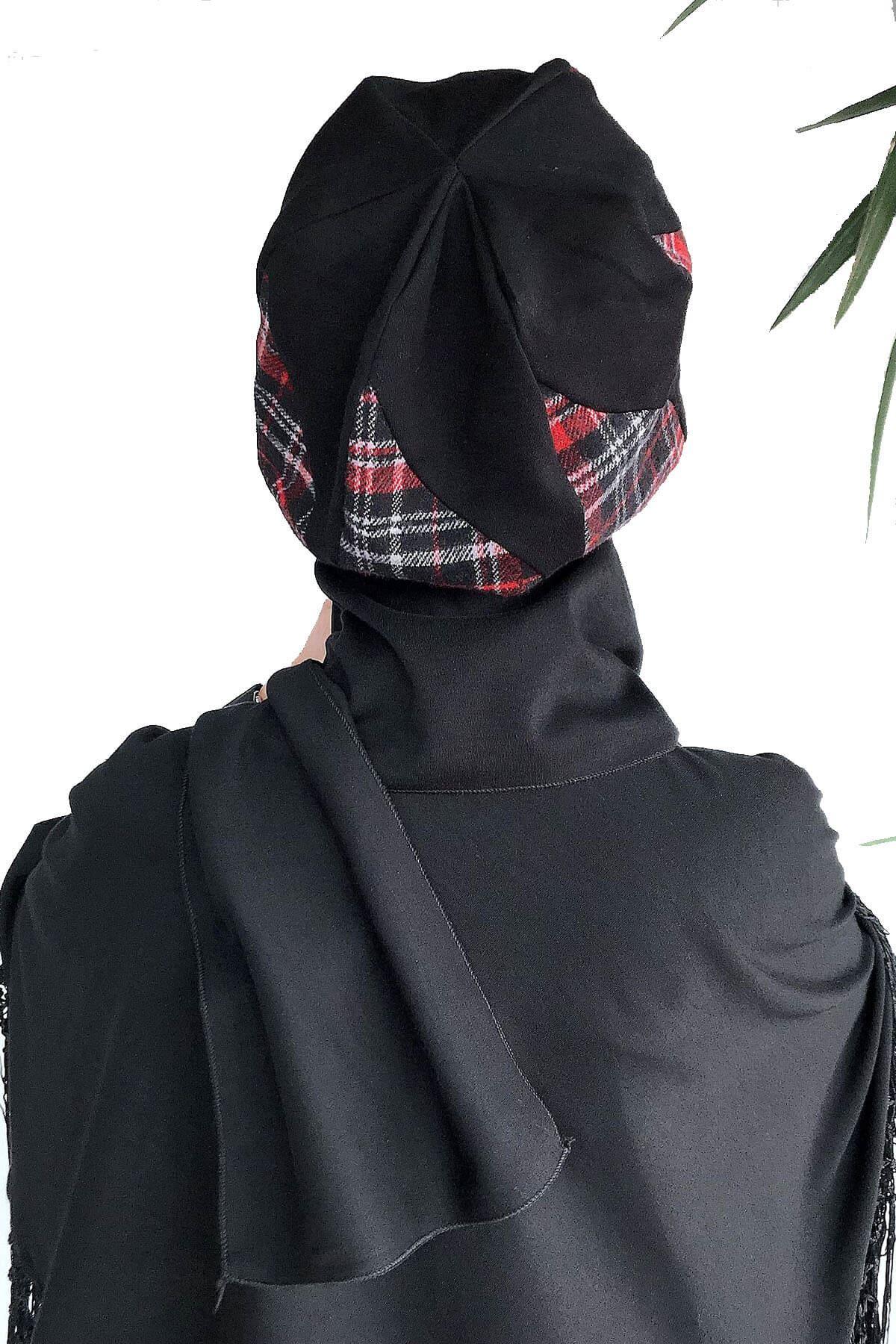Kırmızı Siyah Ekoseli Damla Model Atkılı Bere Şal& Dantel Detaylı Panço Kombin