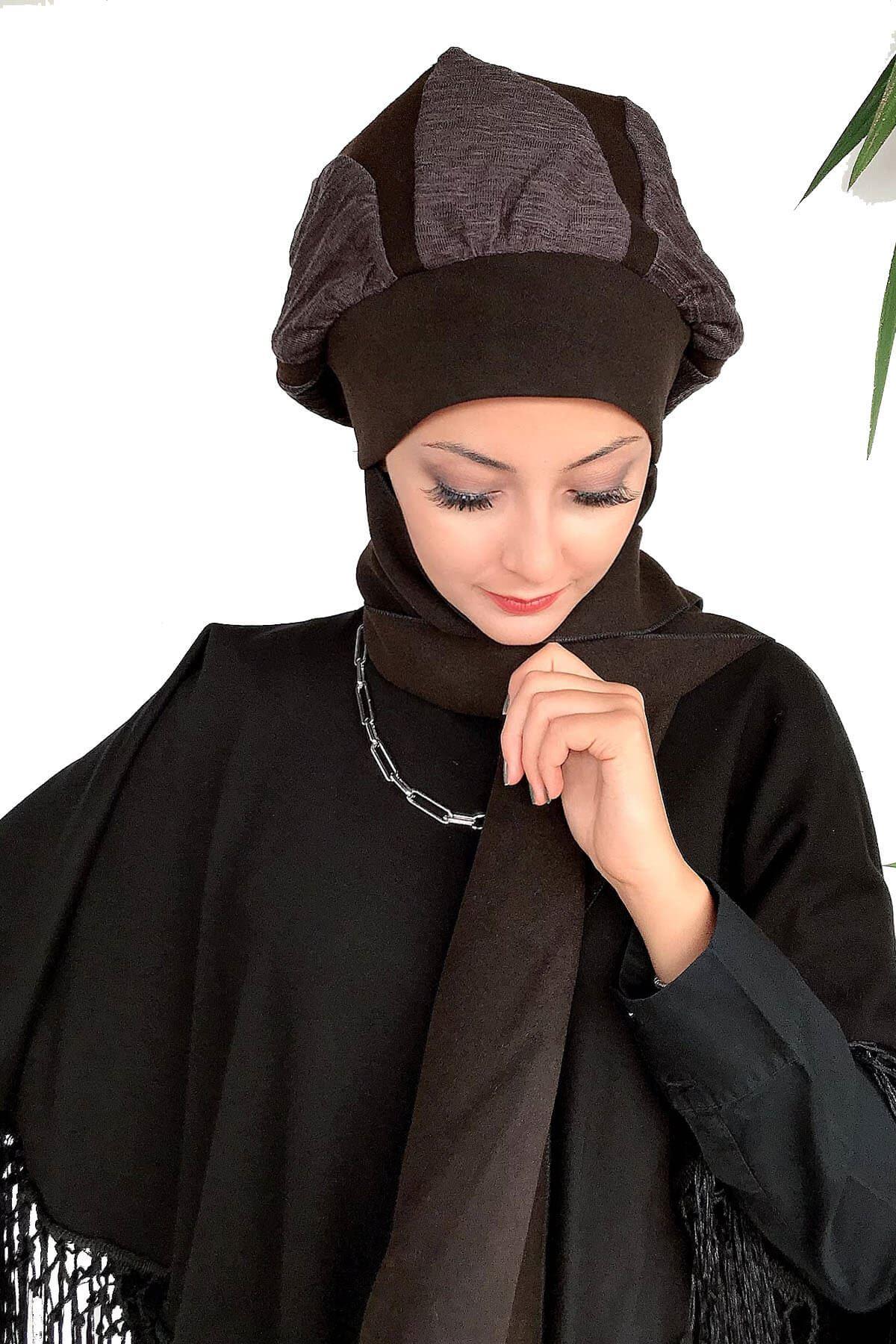 Kırışık Kahverengi Kaşe Damla Model Atkılı Bere Şal& Dantel Detaylı Panço