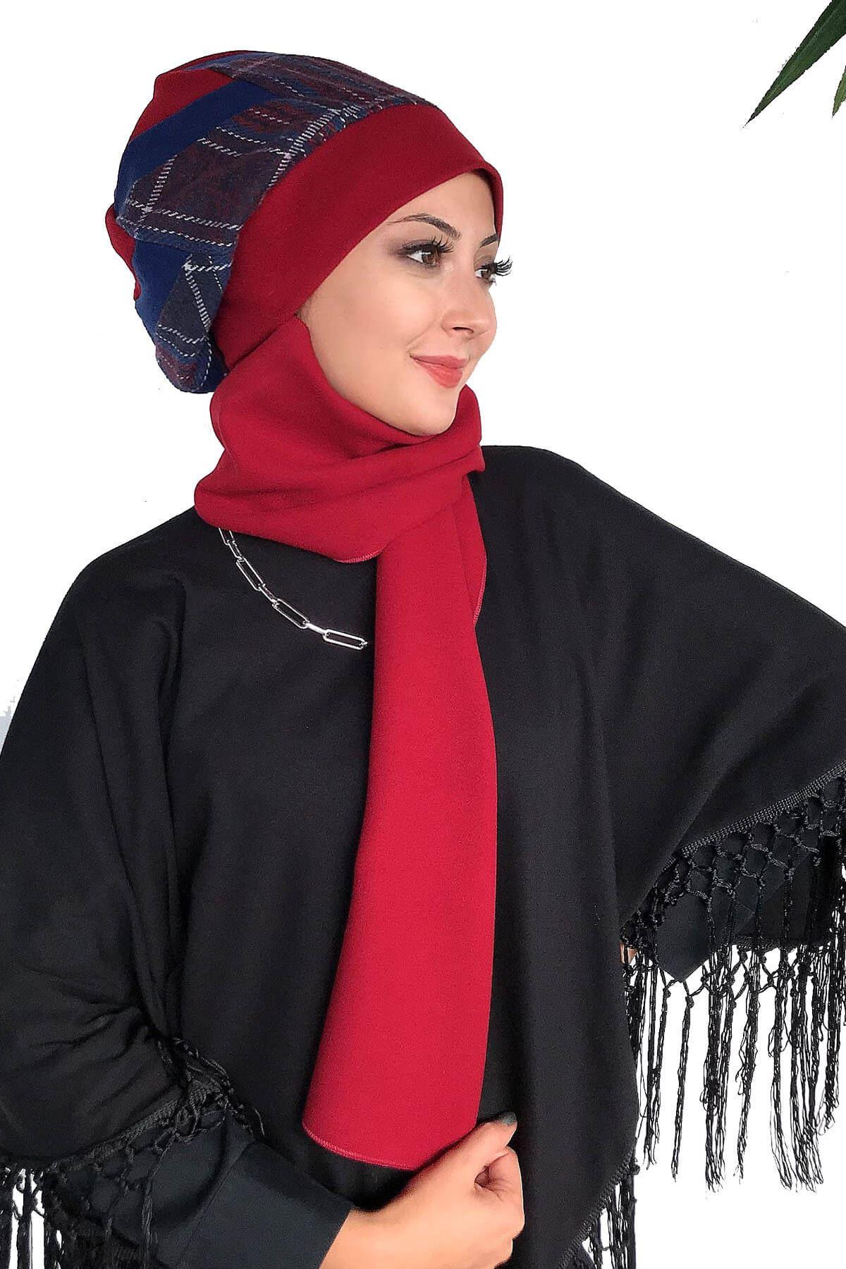 Siyah Dantelli Panço& Üç Renkli Kaşe Kırmızı Ekoseli Melek Model Atkılı Bere Şal
