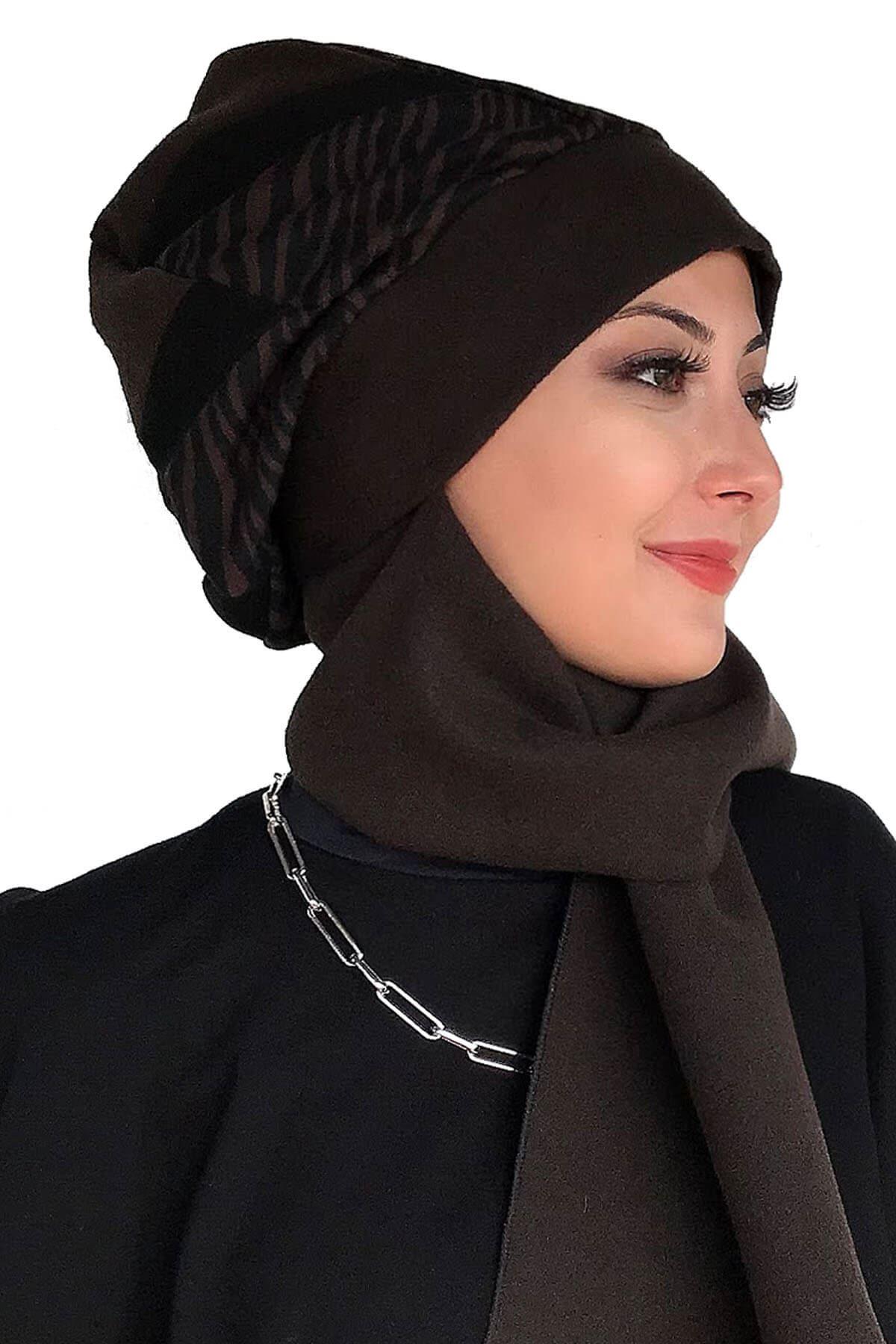 Siyah Dantelli Panço& Üç Renkli Kahverengi Kaşe Melek Model Atkılı Bere Şal