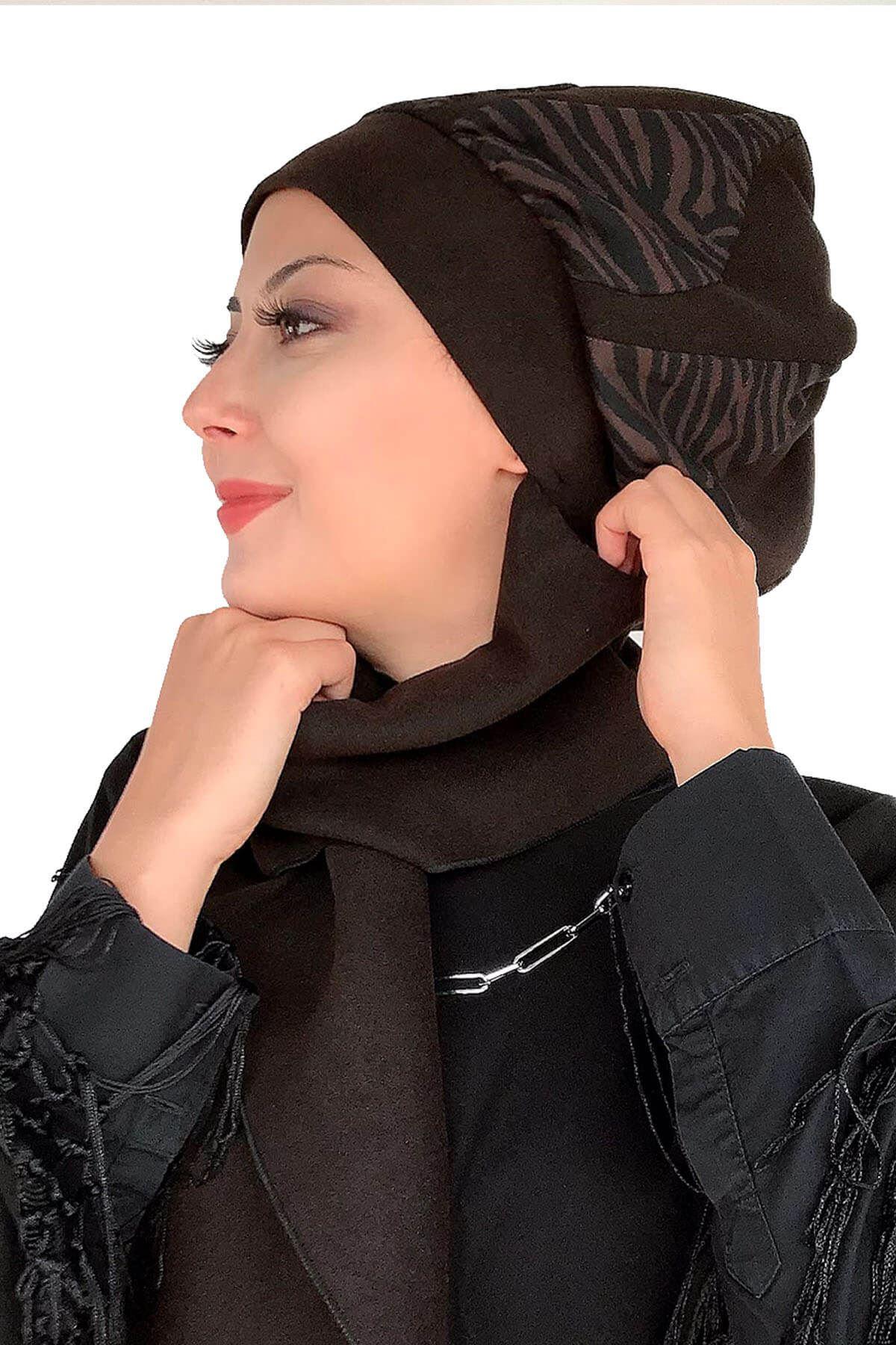 Kırışık Kahverengi Kase Damla Model Siyah Atkılı Bere Şal